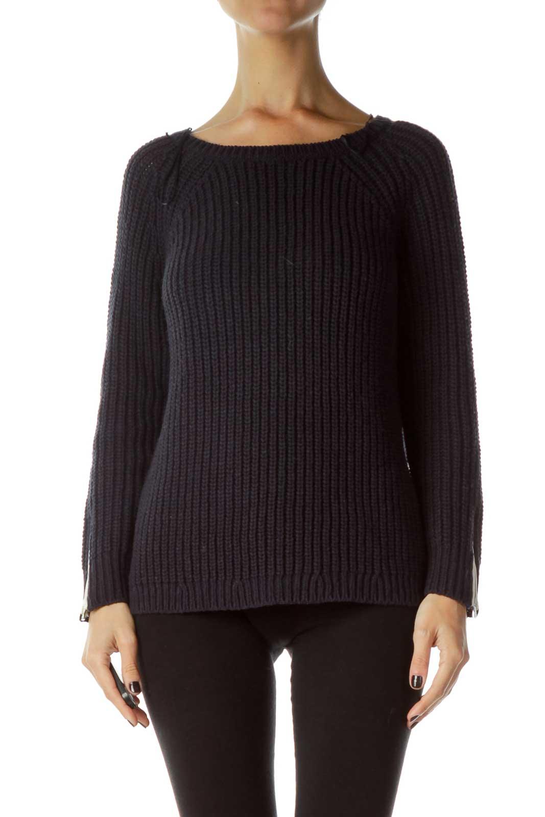 Navy Knit Sweatshirt