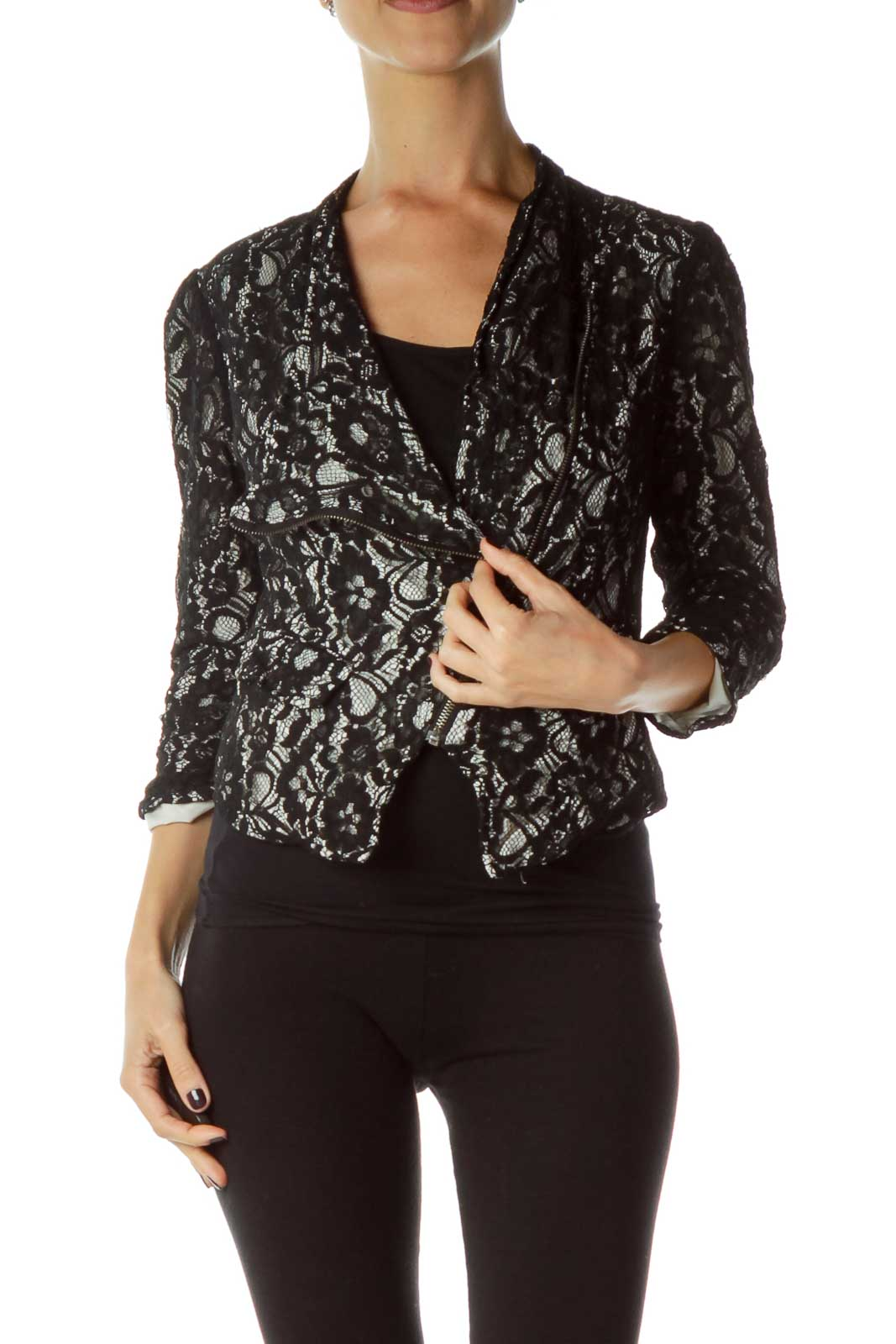 Black White Lace Zipper Jacket