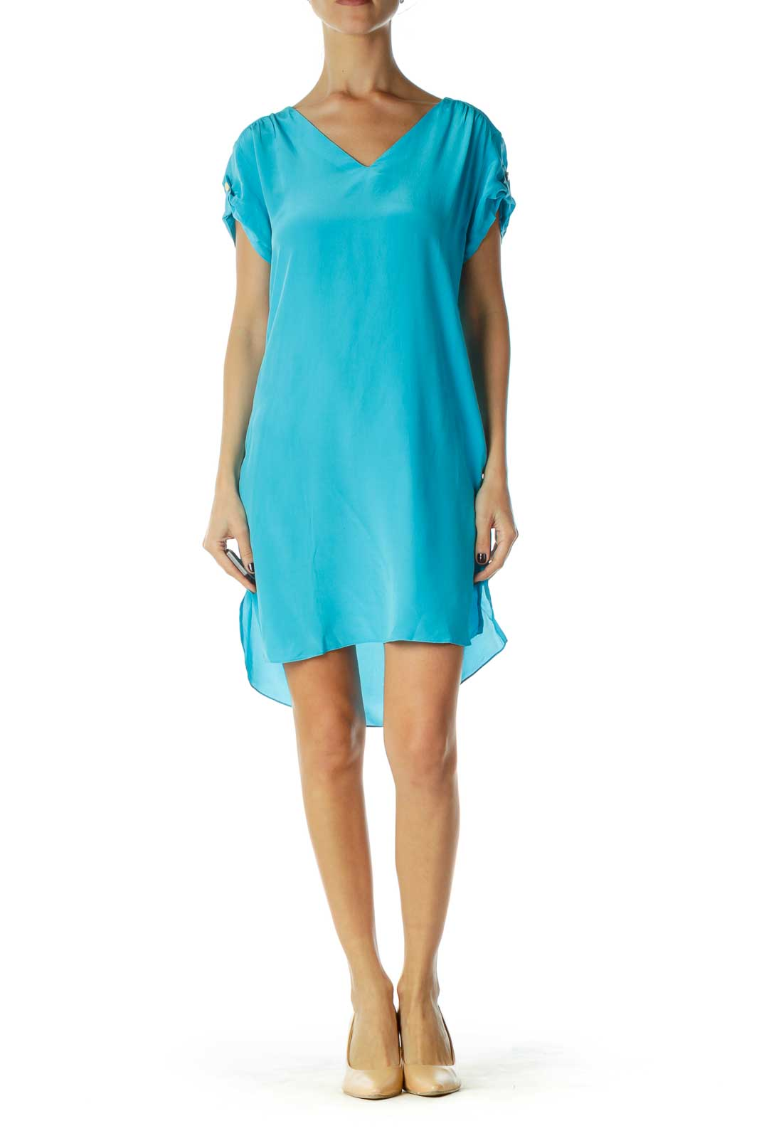 Blue V-Neck Silk Shift Dress