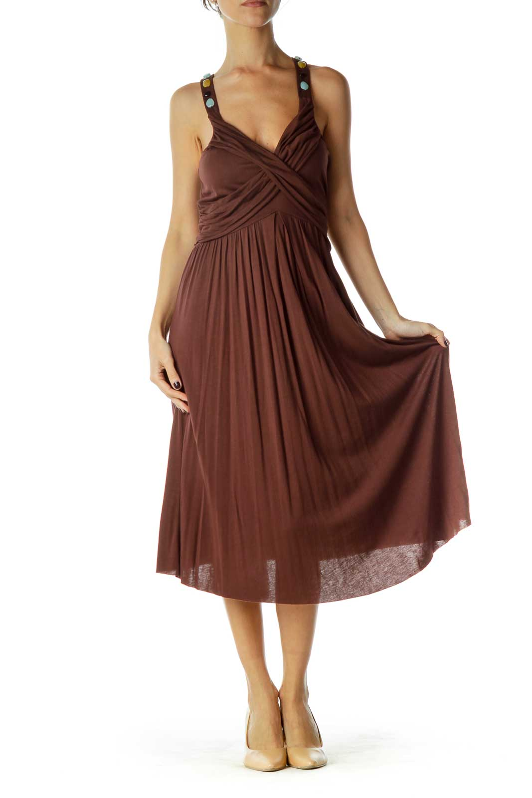 Brown Beaded V-Neck Day Dress
