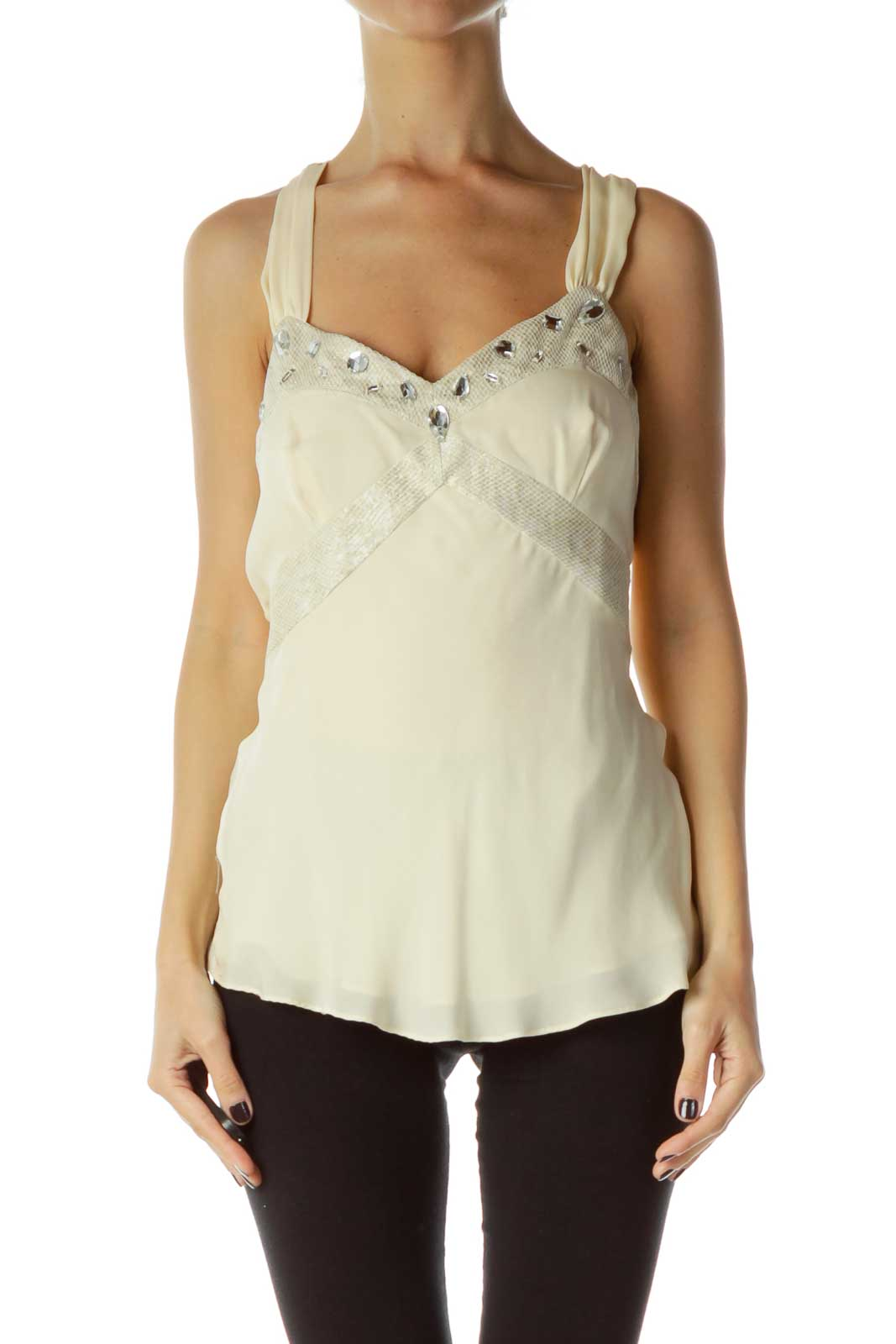 Cream Silver Silk Beaded Halter Top