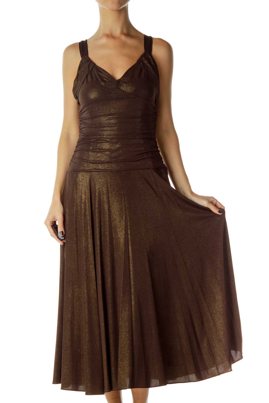Brown Gold Evening Dress