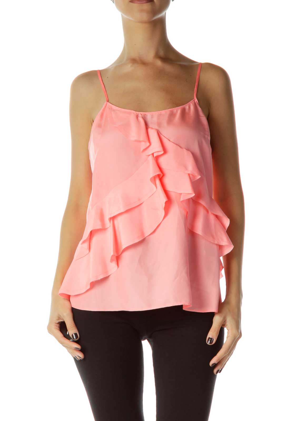 Pink Ruffled Silk Top
