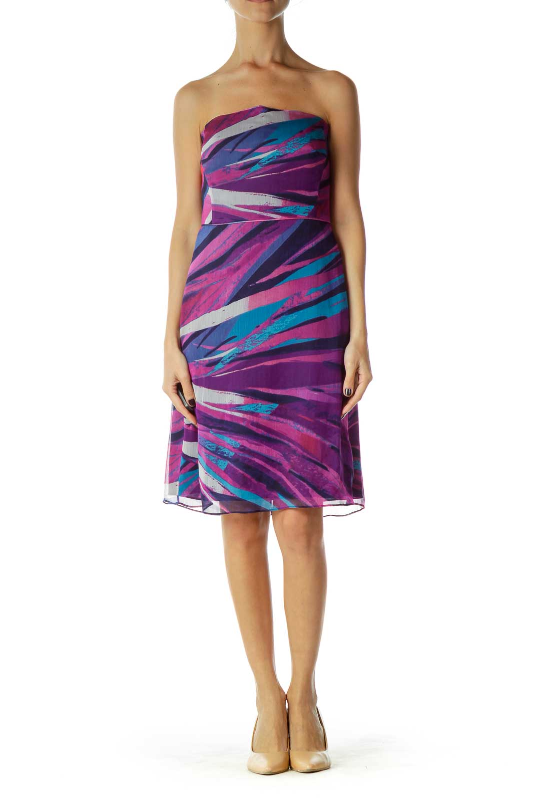 Purple Blue Printed Strapless Dress