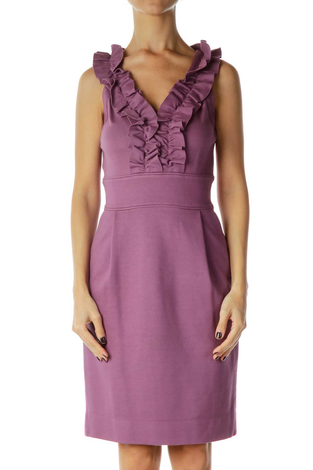 Purple Ruffled Work Dress