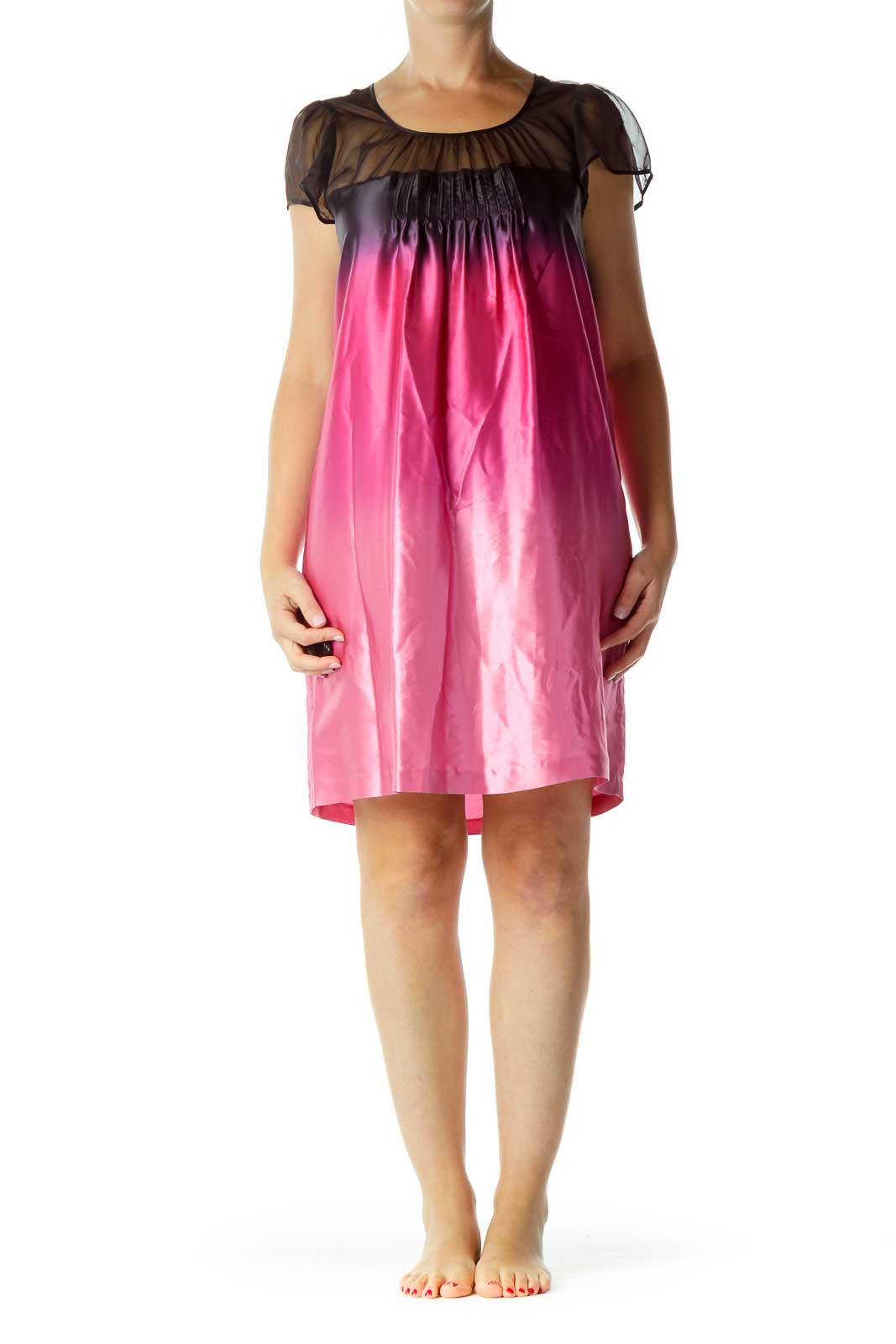 Black Pink Ombre Silk Dress
