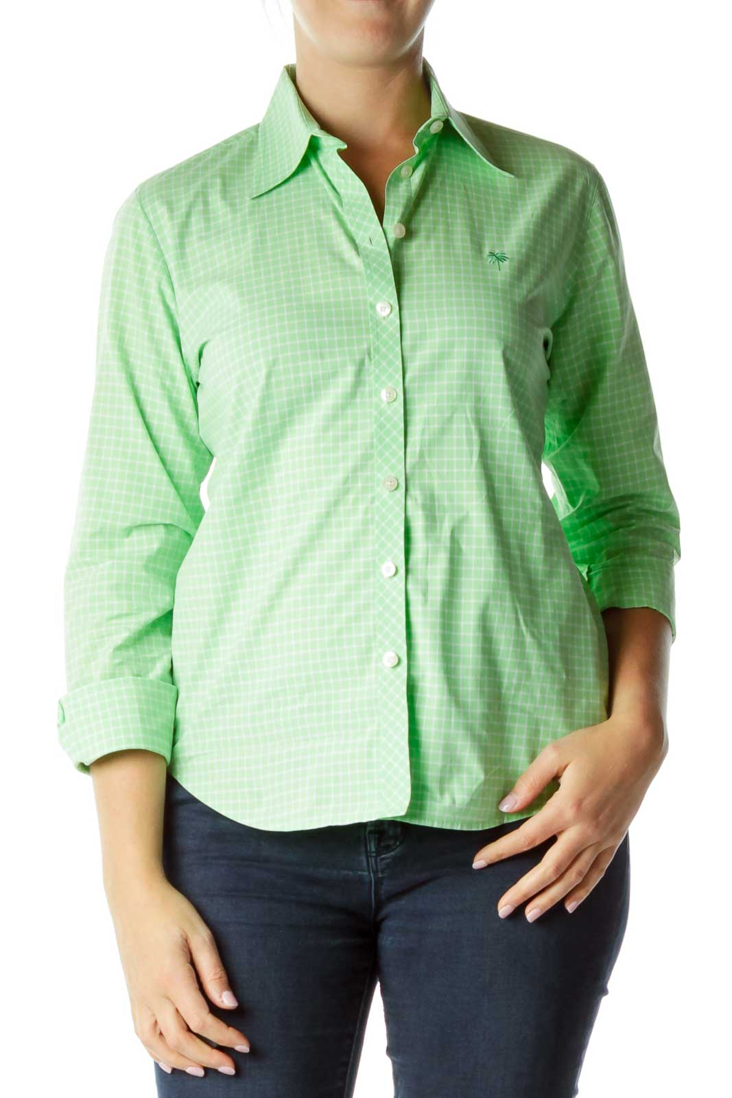 Green White Plaid Shirt