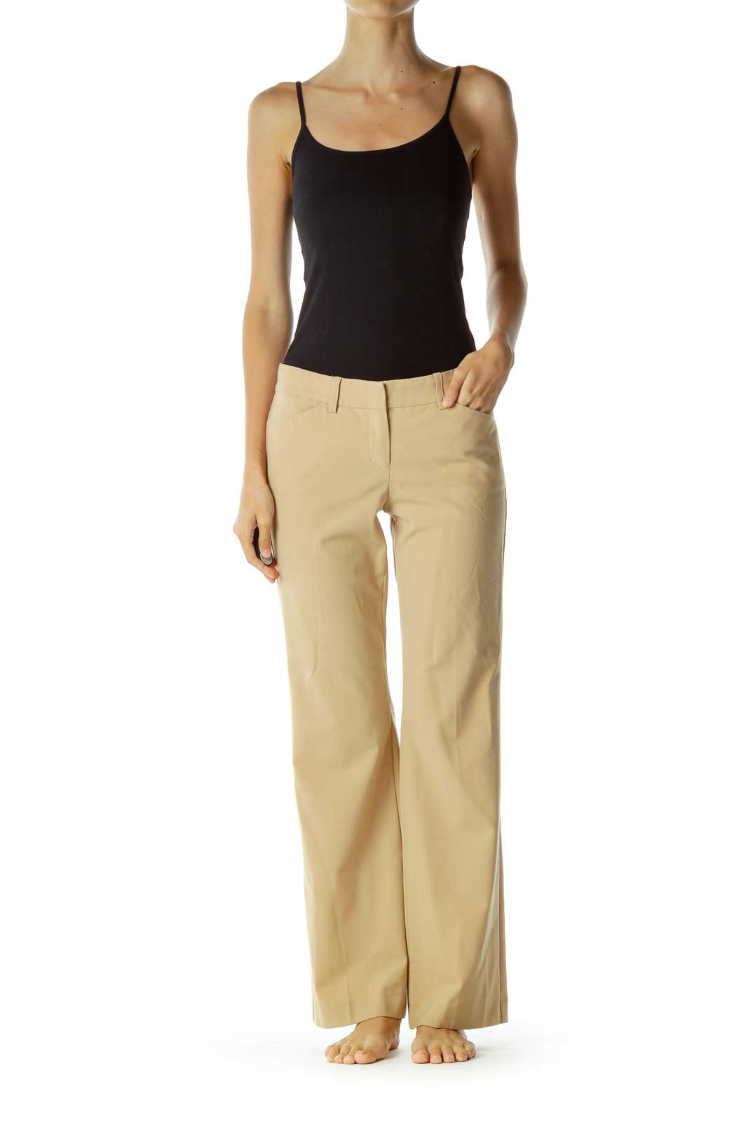 Beige Flared Slacks