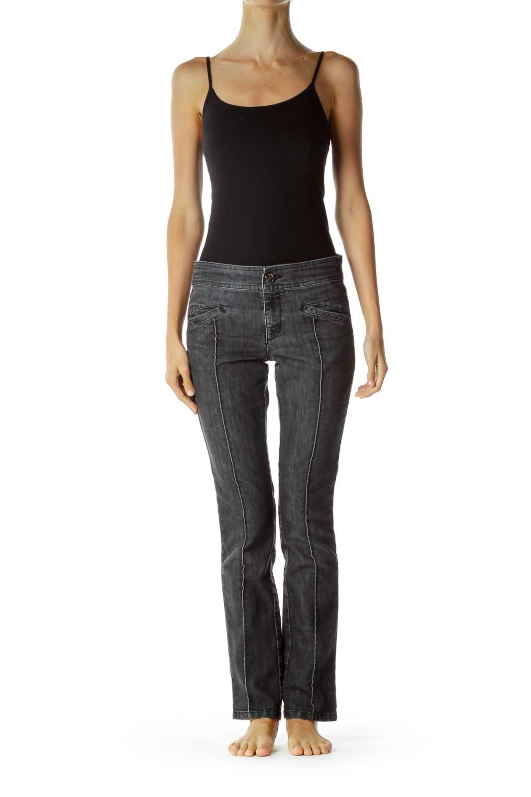 Black Denim Fold Detail Skinny Jeans