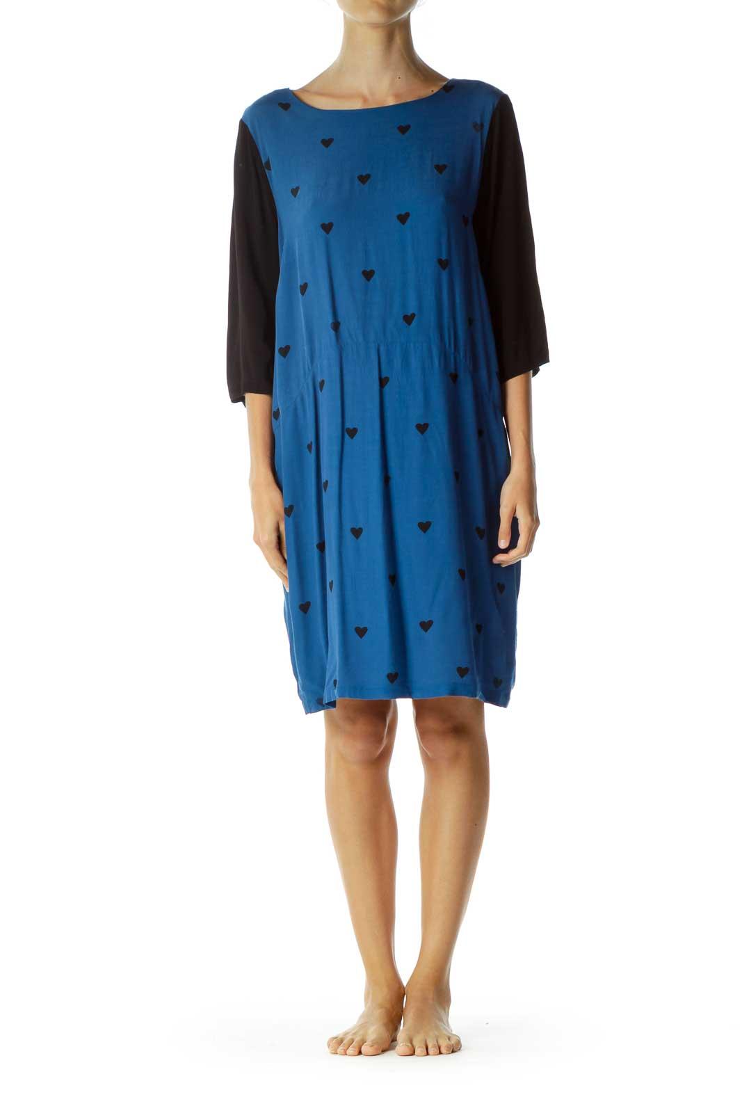 Blue Black Heart Print Day Dress