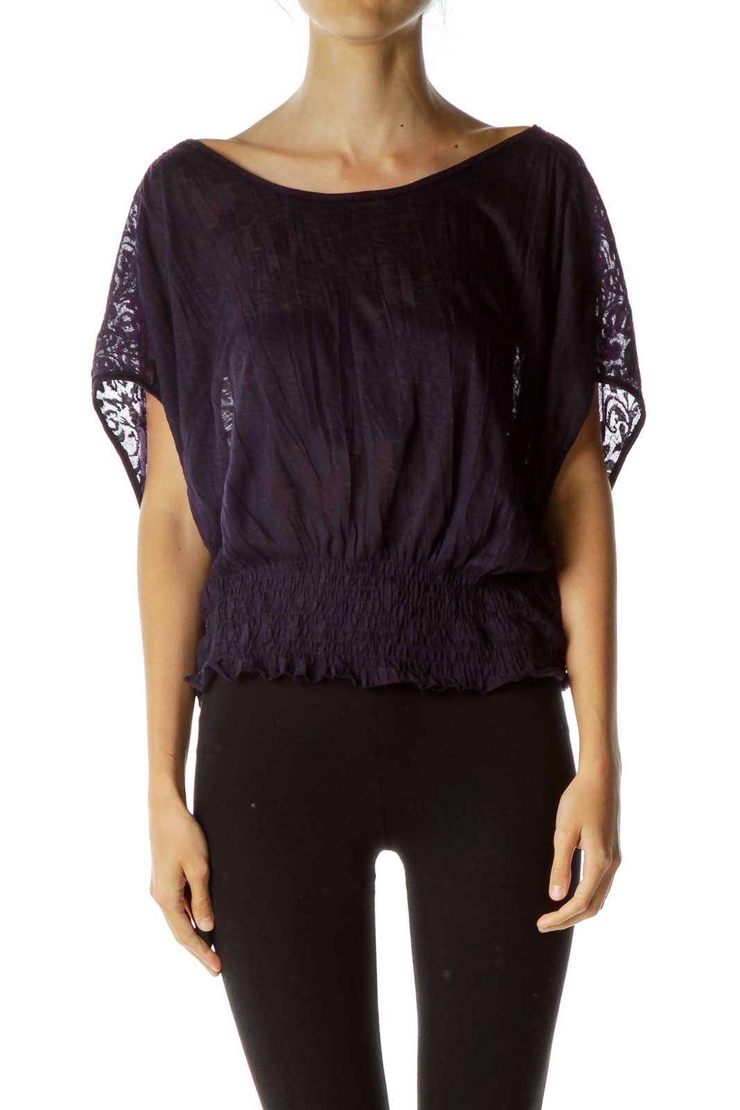 Purple Embossed Sheer Blouse