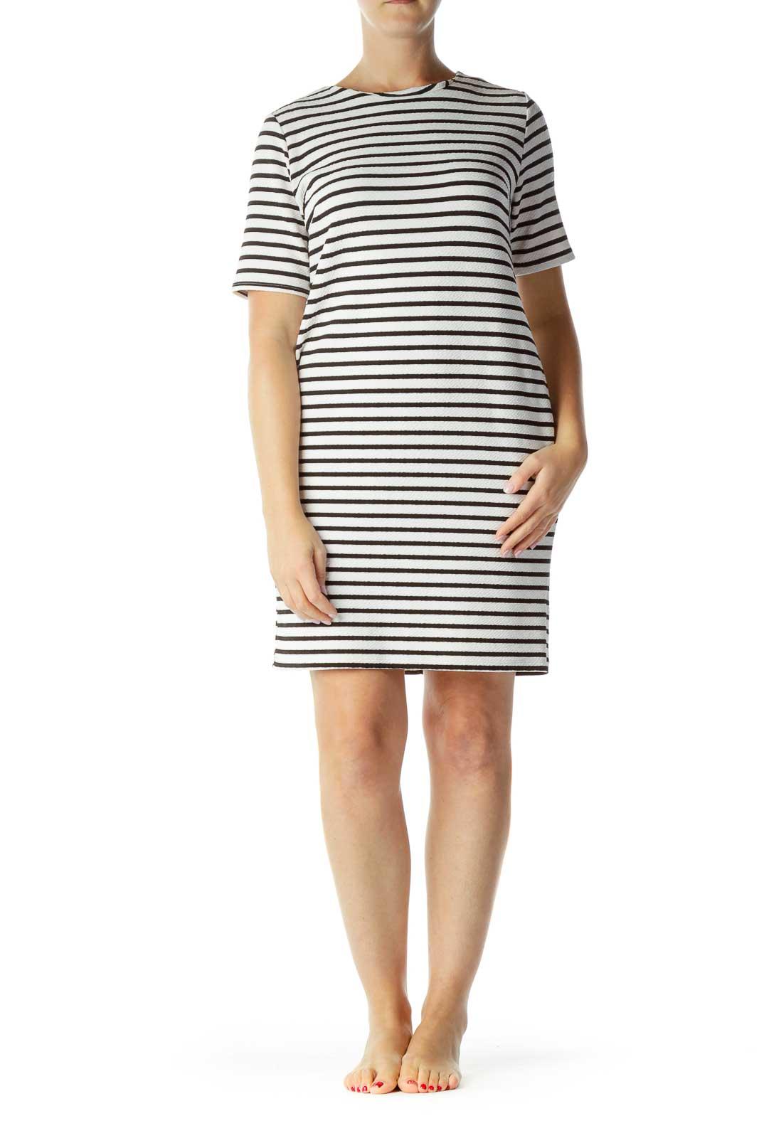 White Black Striped Day Dress