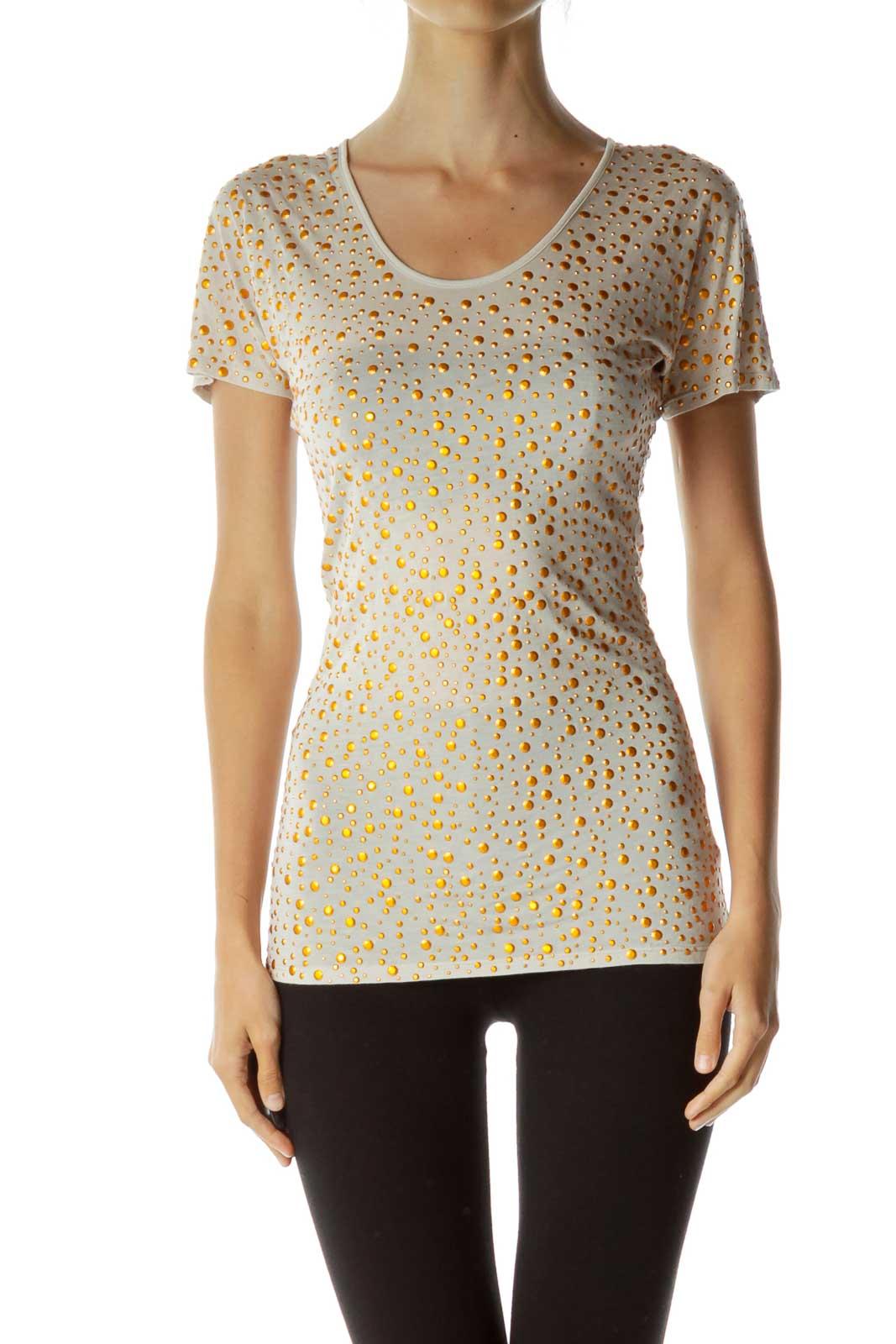 Beige Studded T-Shirt