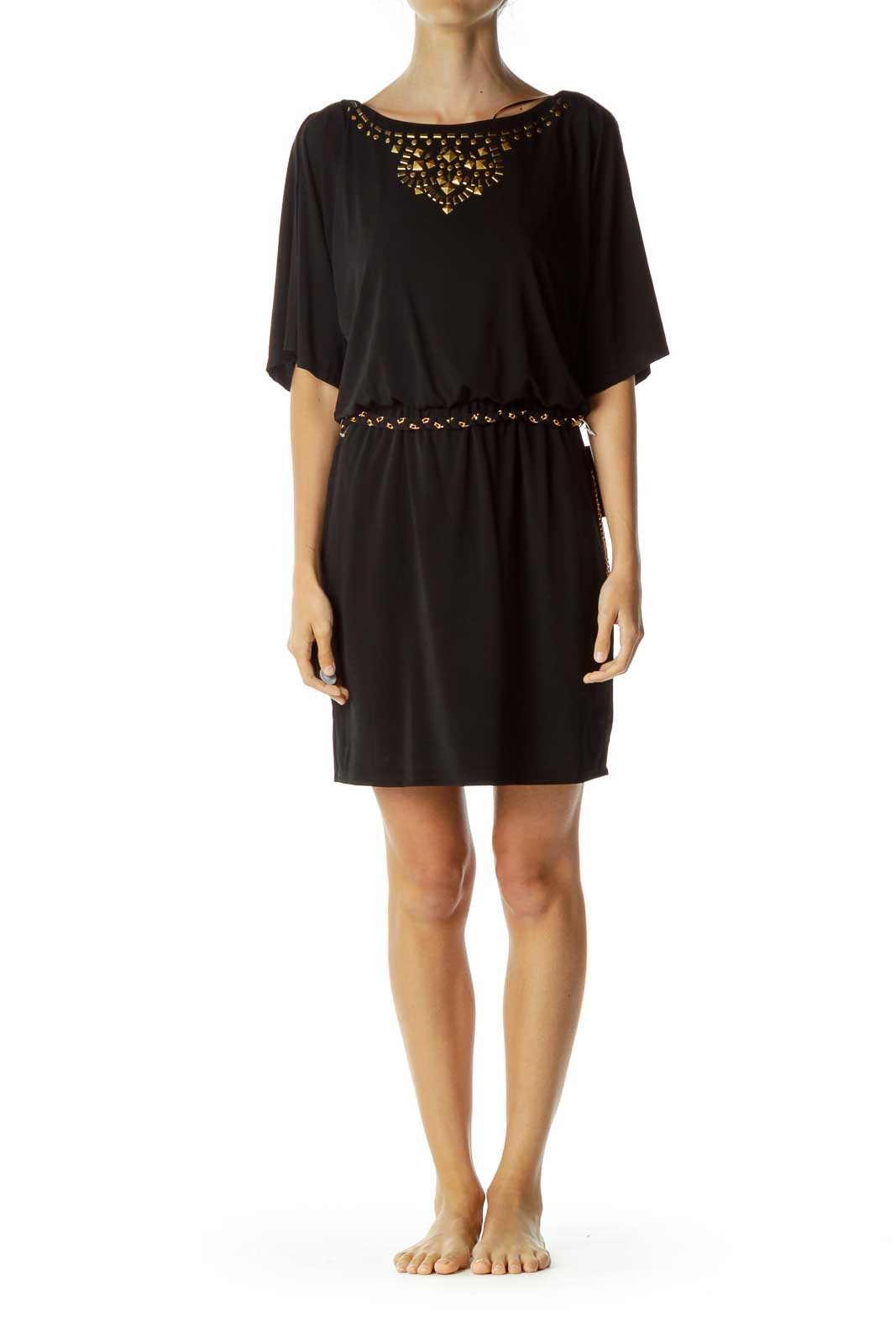 Black Dress with Gold Chain Details
