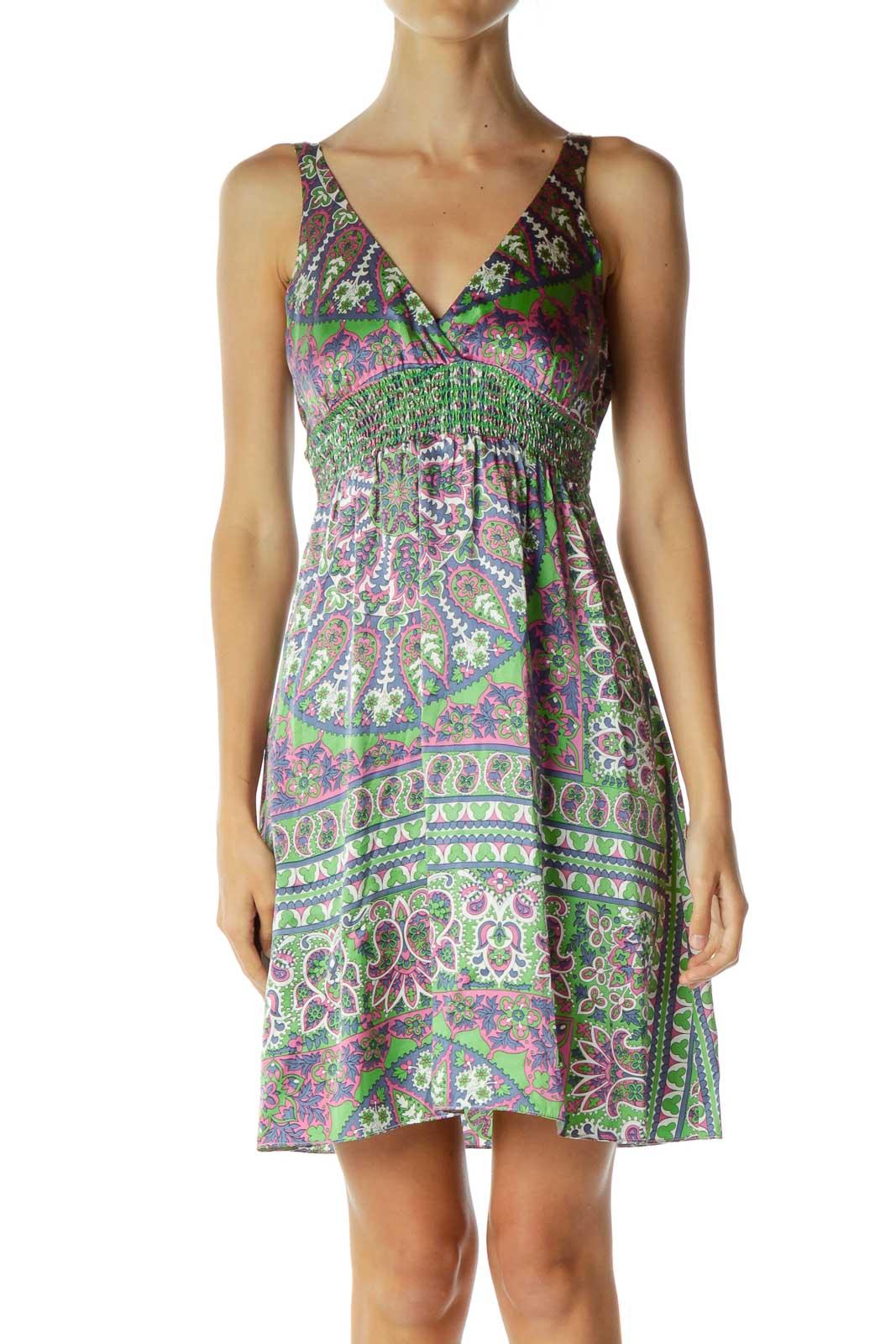 Multicolor Silk Paisley V-Neck Day Dress