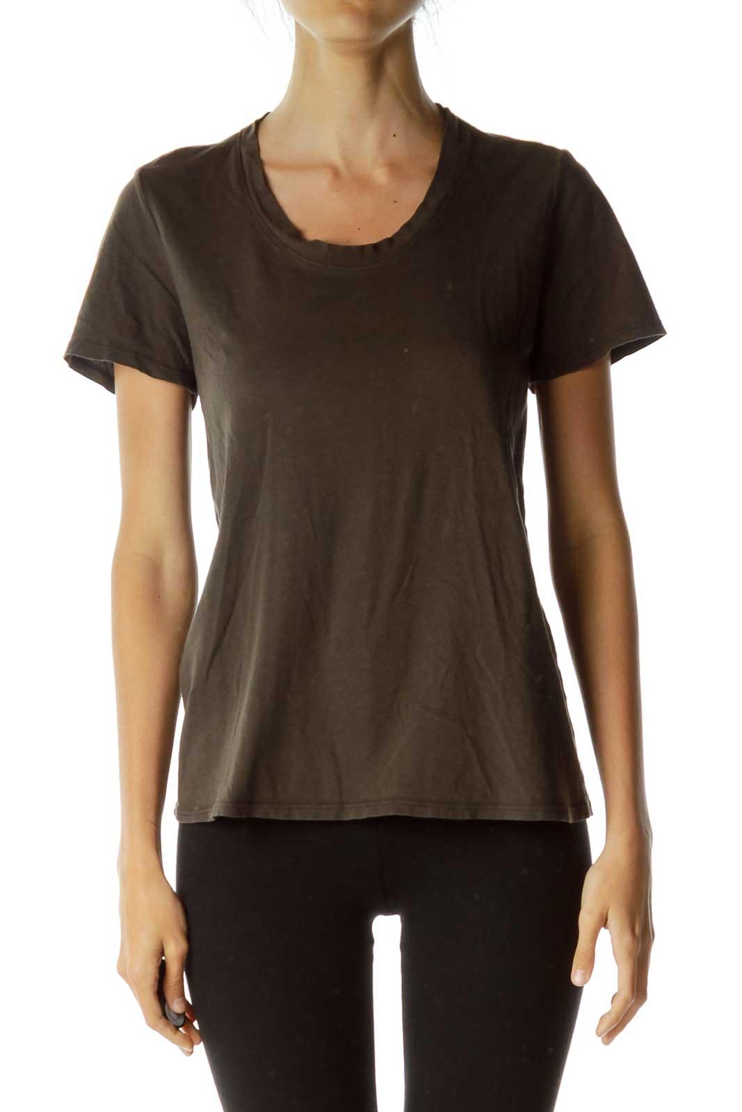 Dark Green/Brown Round Neck T-Shirt