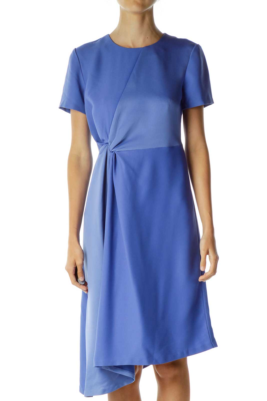 Blue Scrunched Midi Work Dress