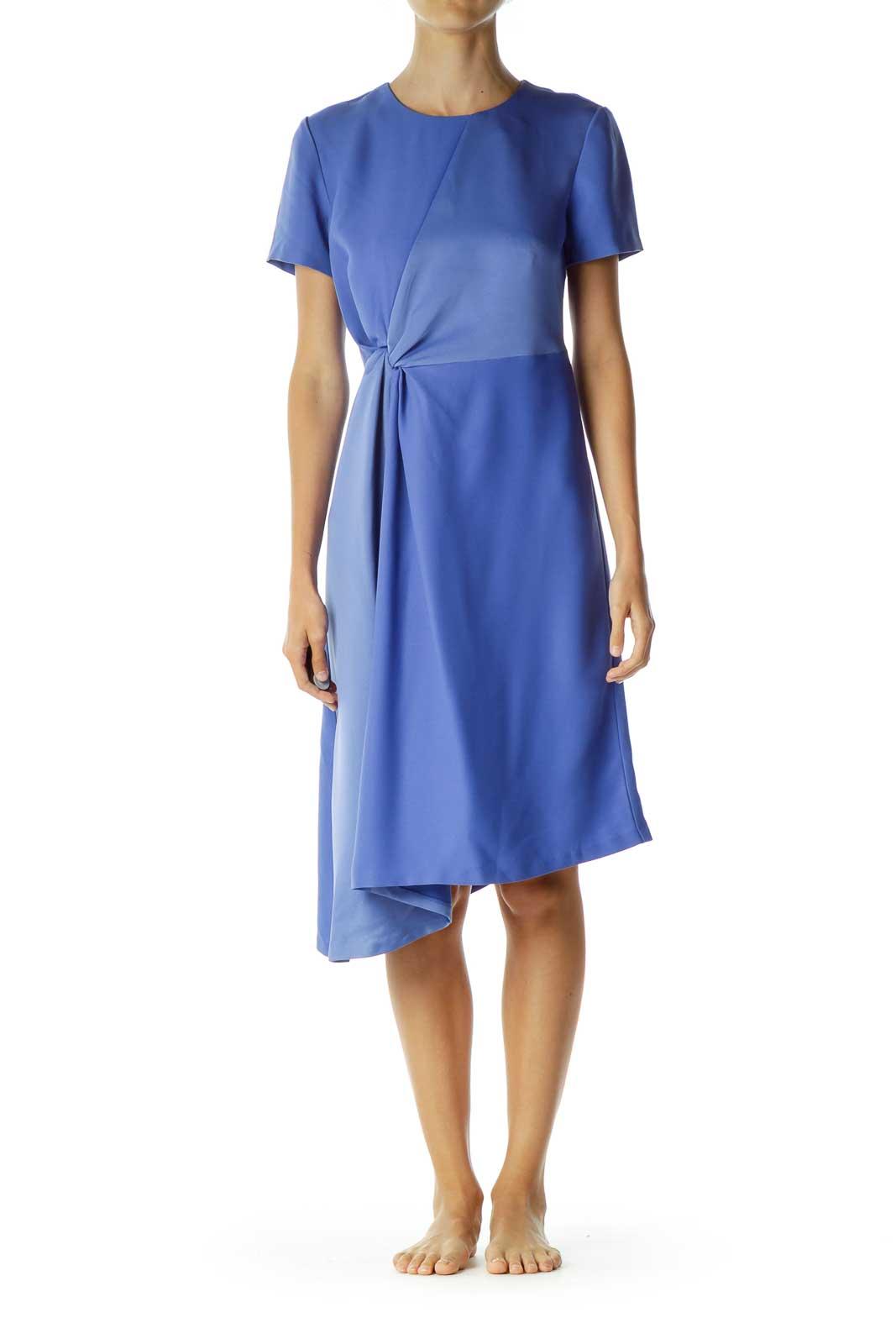 Blue Scrunched Midi Work Dress