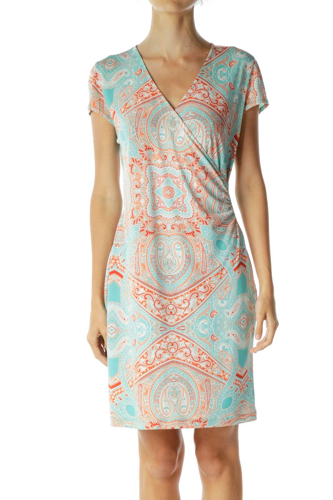 Blue Orange Paisley Print Day Dress