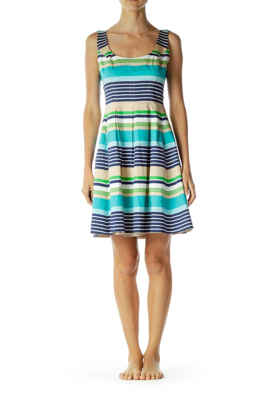 Blue Beige Striped Day Dress