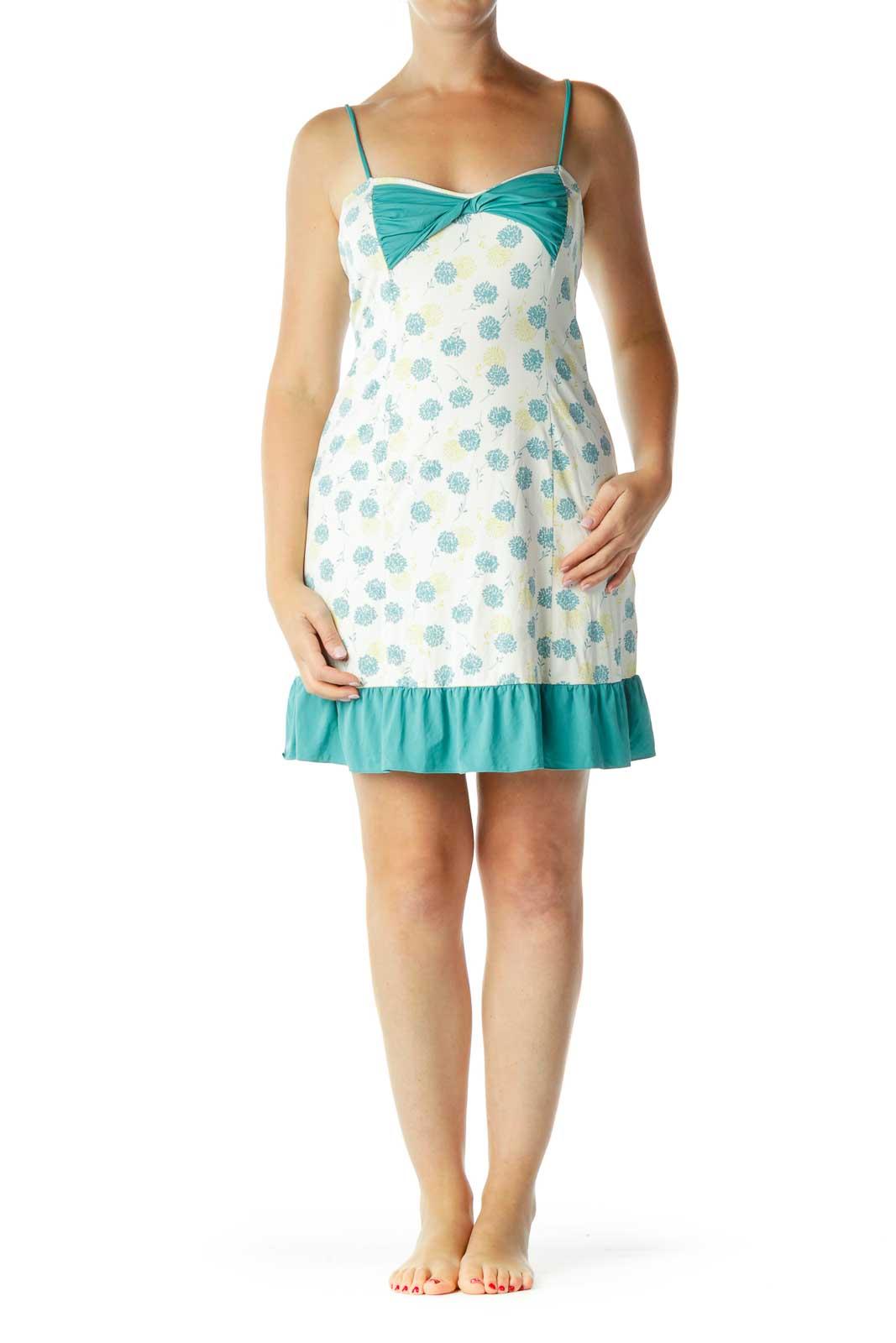 Cream Teal Floral Bow Detailed Slip Dress