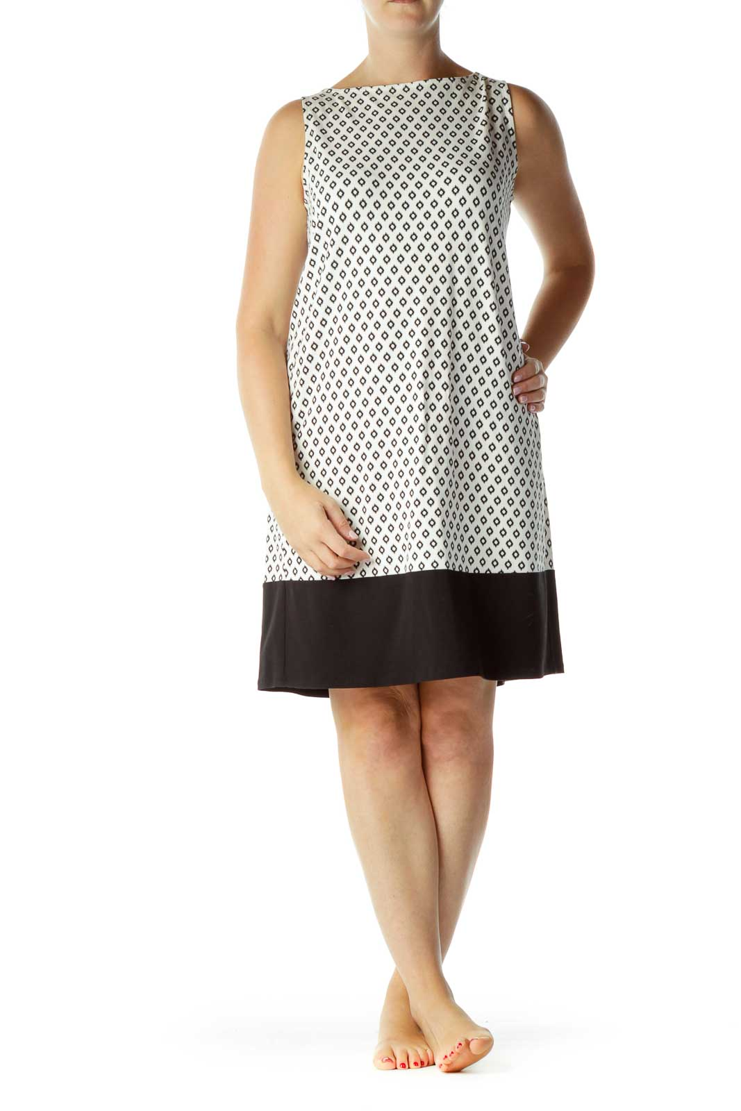 Black White Print Day Dress
