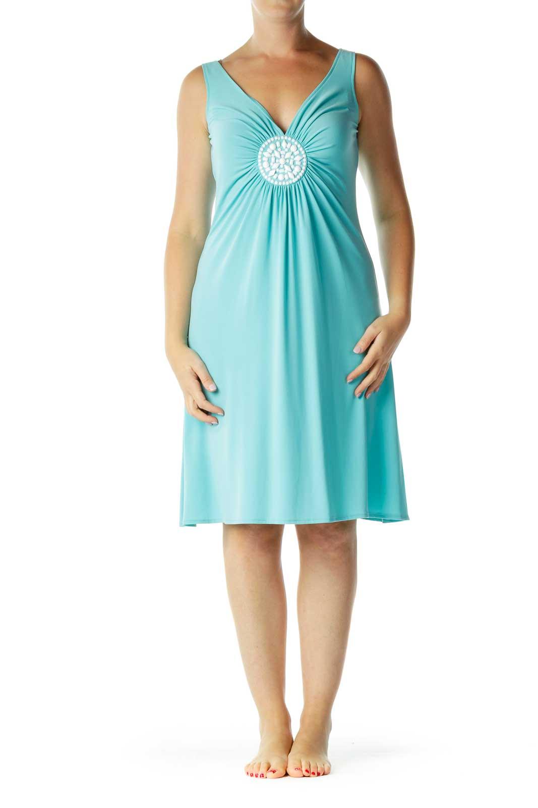 Blue Beaded Detailed Jersey Dress