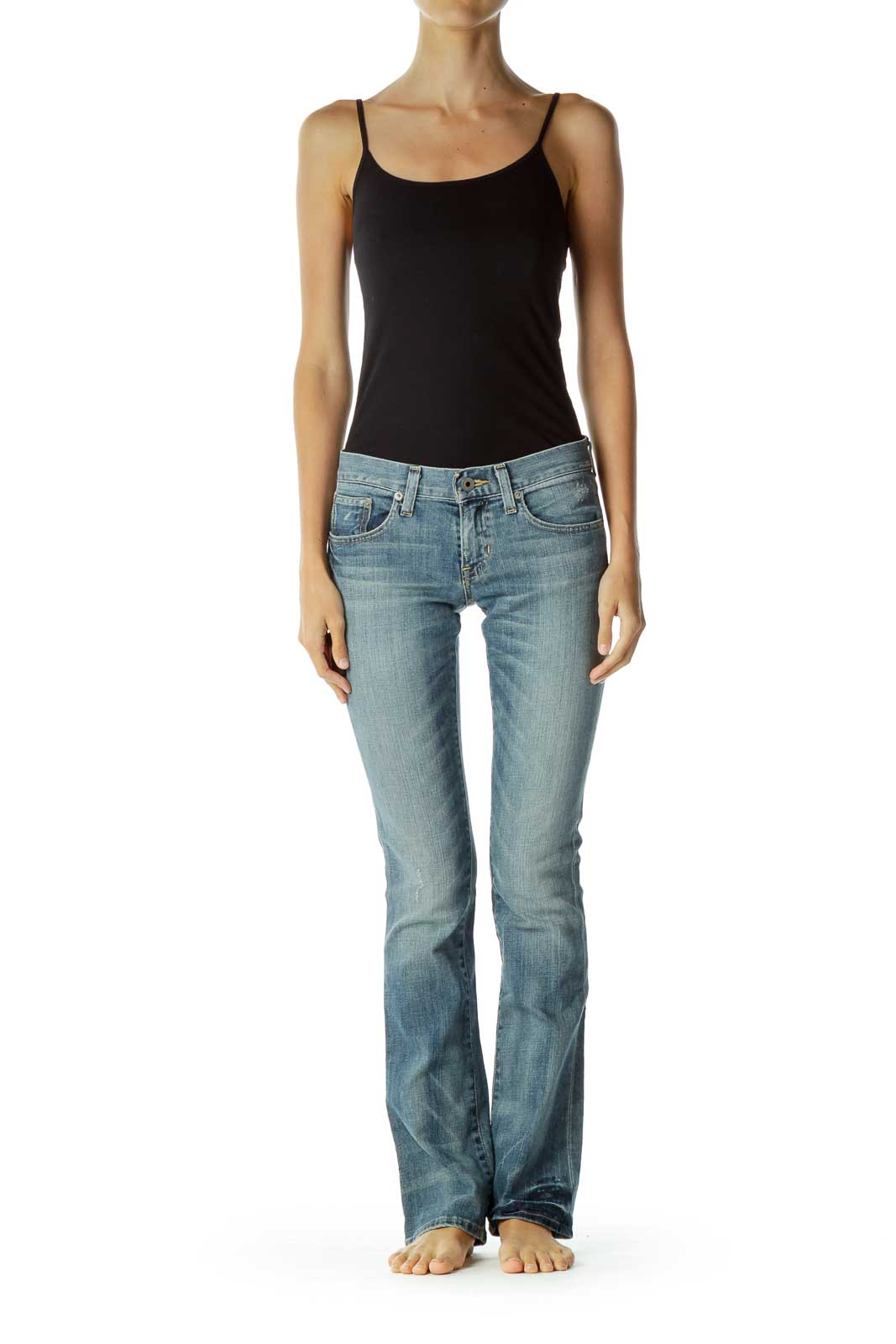 Blue Washed Flared Jeans