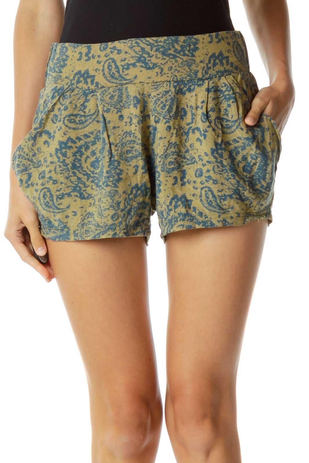 Green Blue Paisley Print Shorts