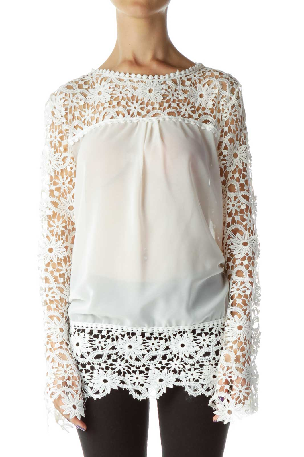 White Embroidered Lace Longsleeve Blouse