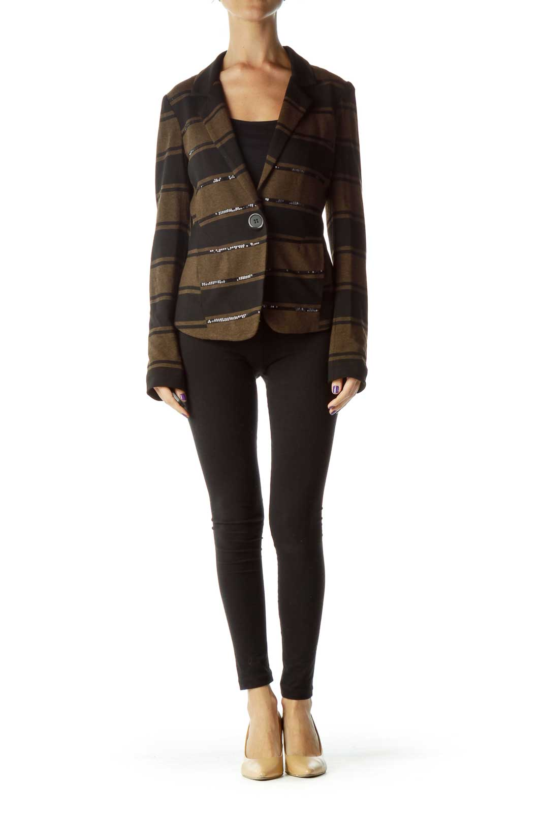 Black Brown Stripe Sequin Detailed Jacket