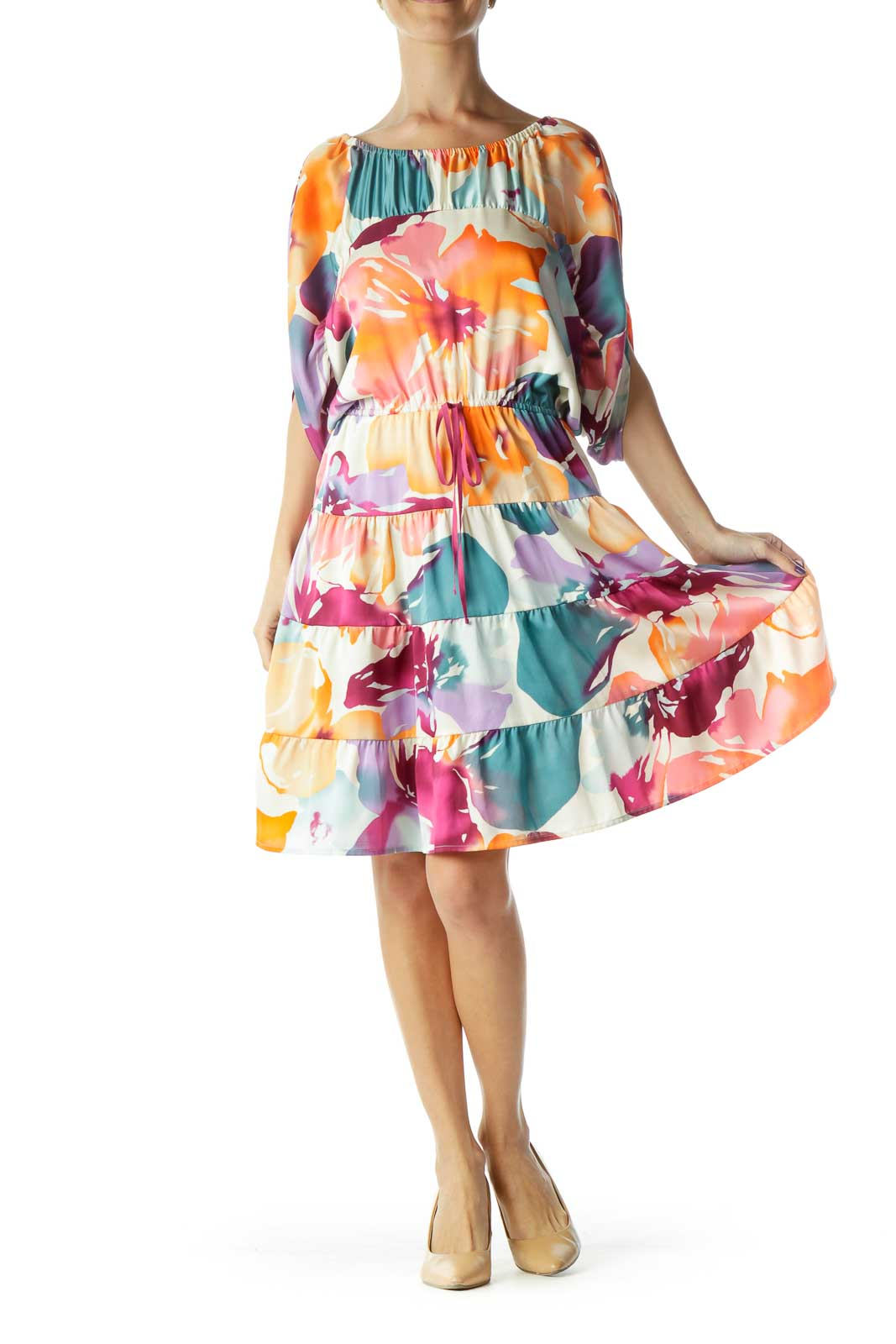 Orange Blue Pink Purple Floral Watercolor Print Short Sleeve Dress