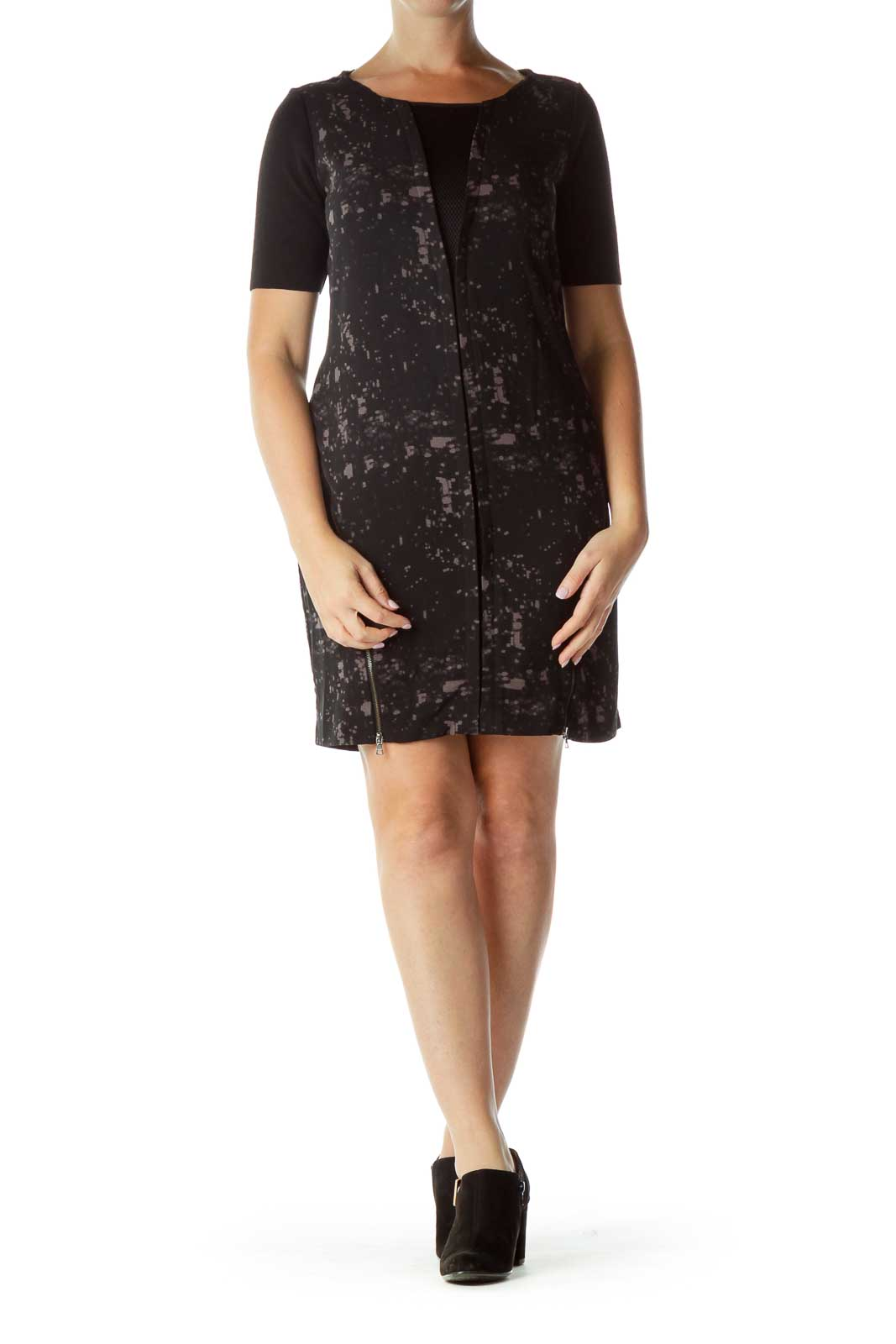 Black Gray Mesh Zippered Short Sleeve Dress