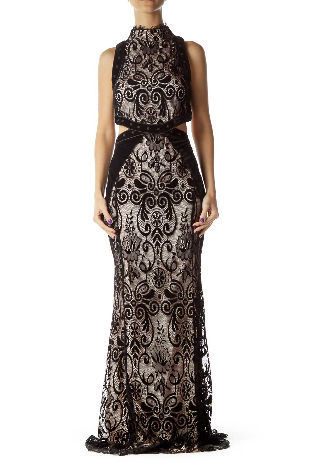 Black Lace Velvet Open Back Gown