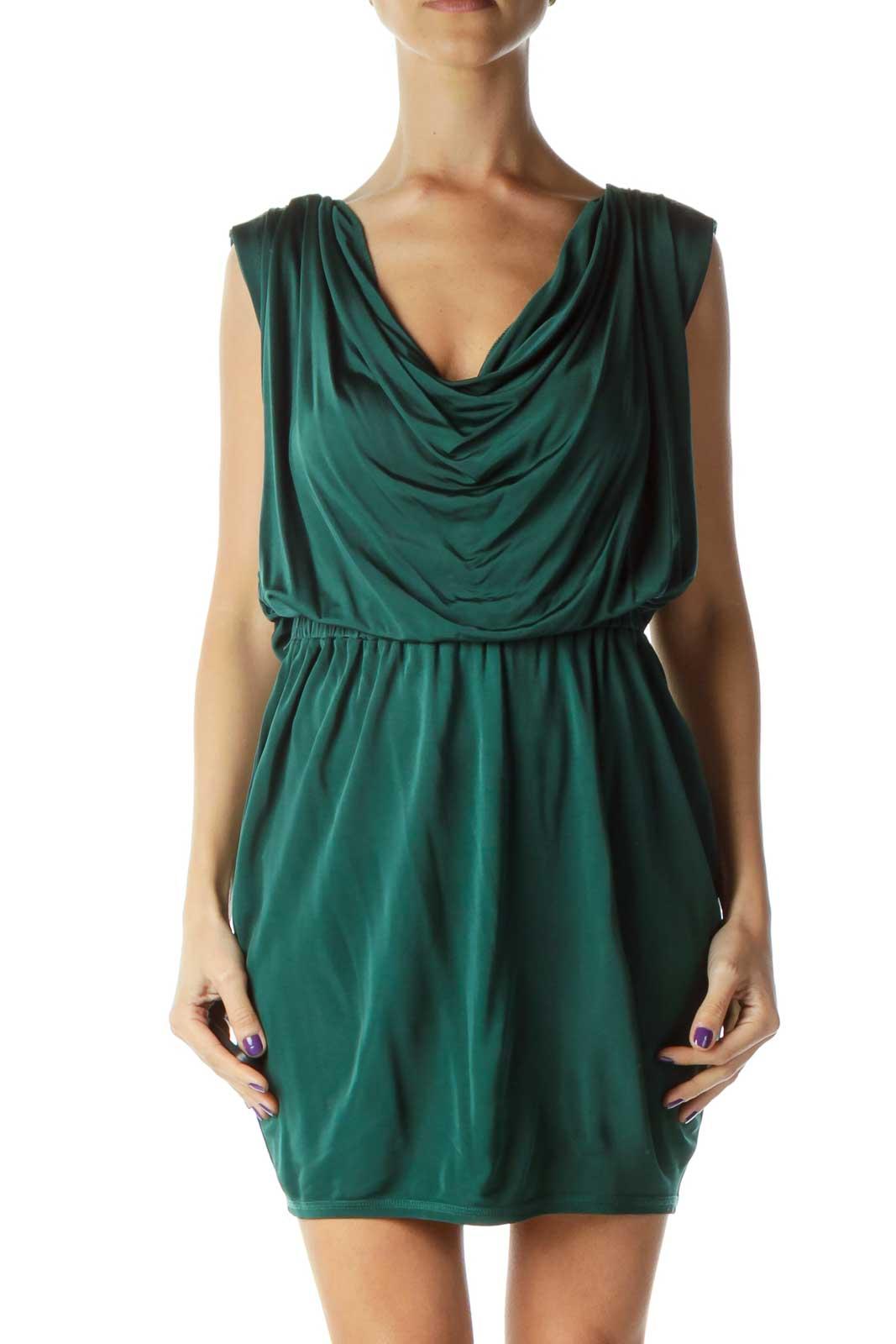 Green Round Neck Scrunch Detail Dress