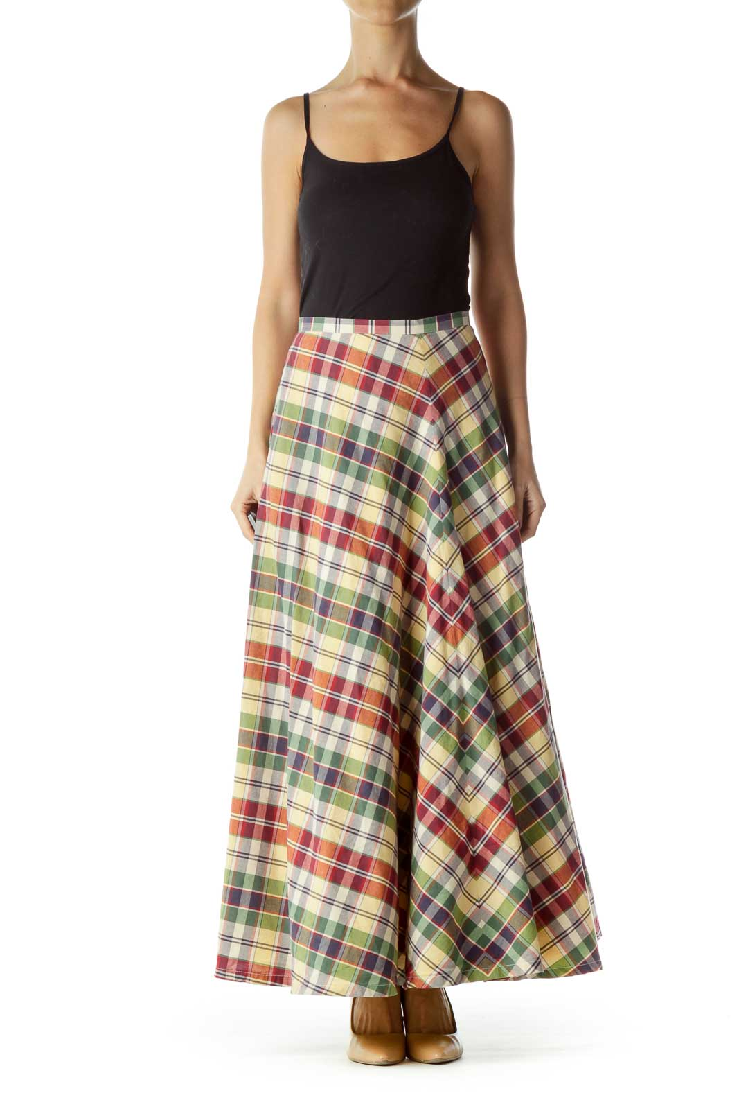 Red Green Yellow Checkered Maxi Skirt
