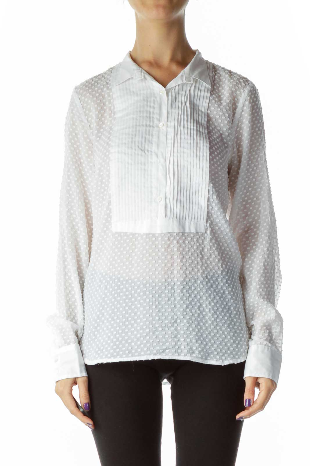 White Sheet Polka Dot Pleat Detailed Textured Shirt