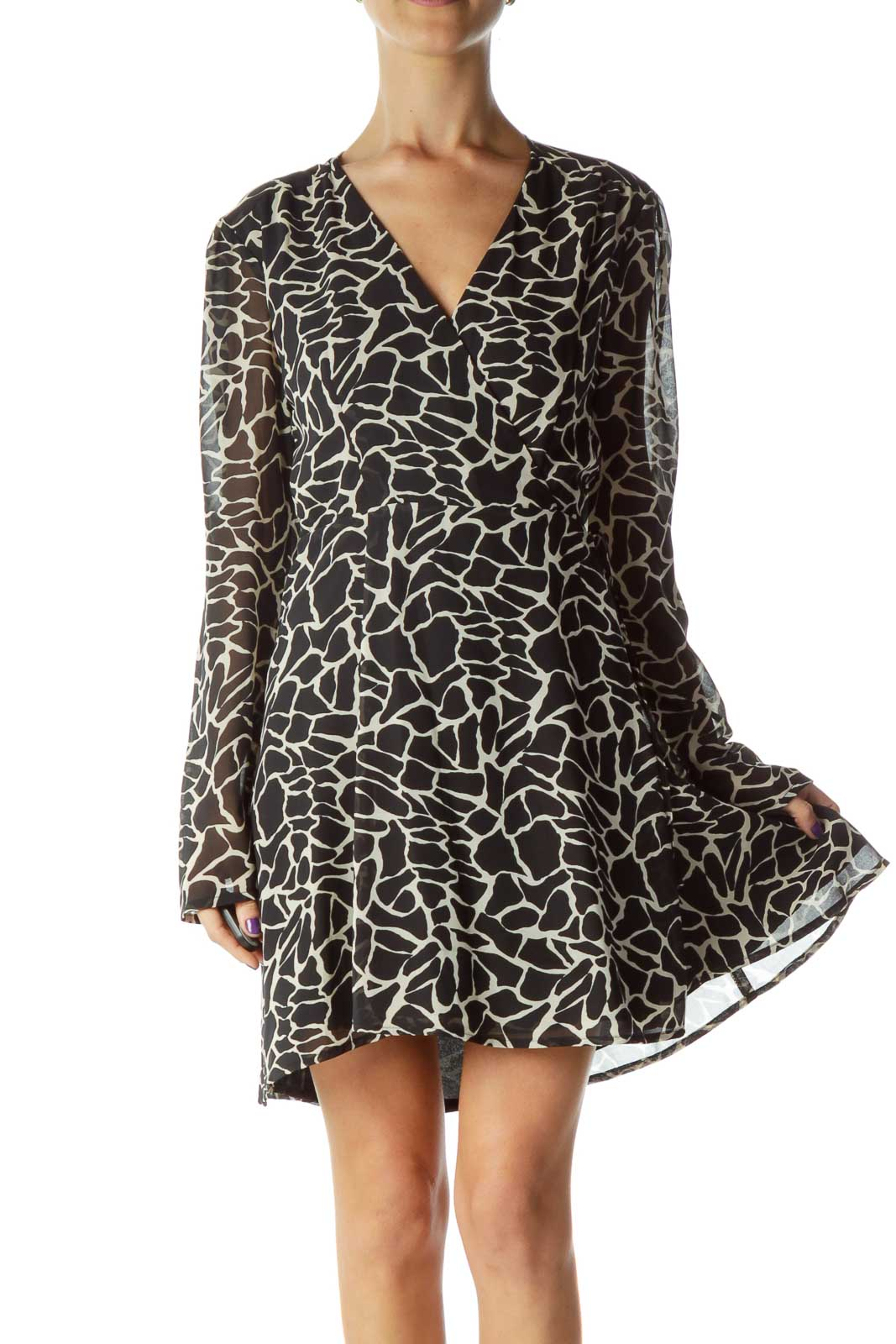Black Beige Printed Long Sleeve Work Dress