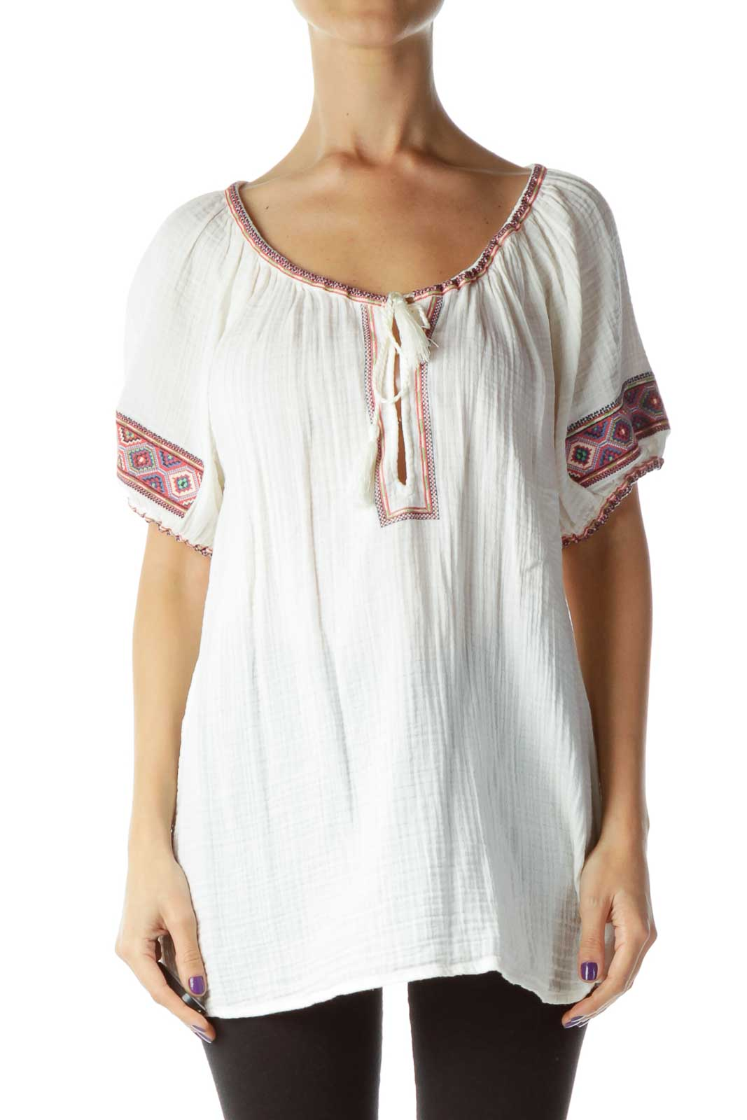 Cream Puff Sleeve Embossed Tunic