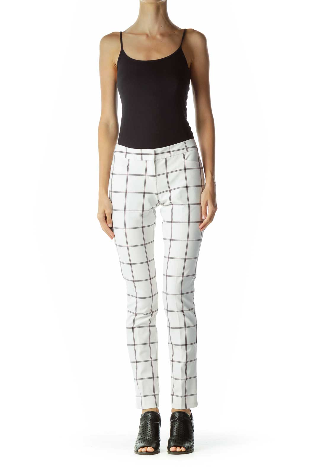 White Blue Checkered Tapered Slacks