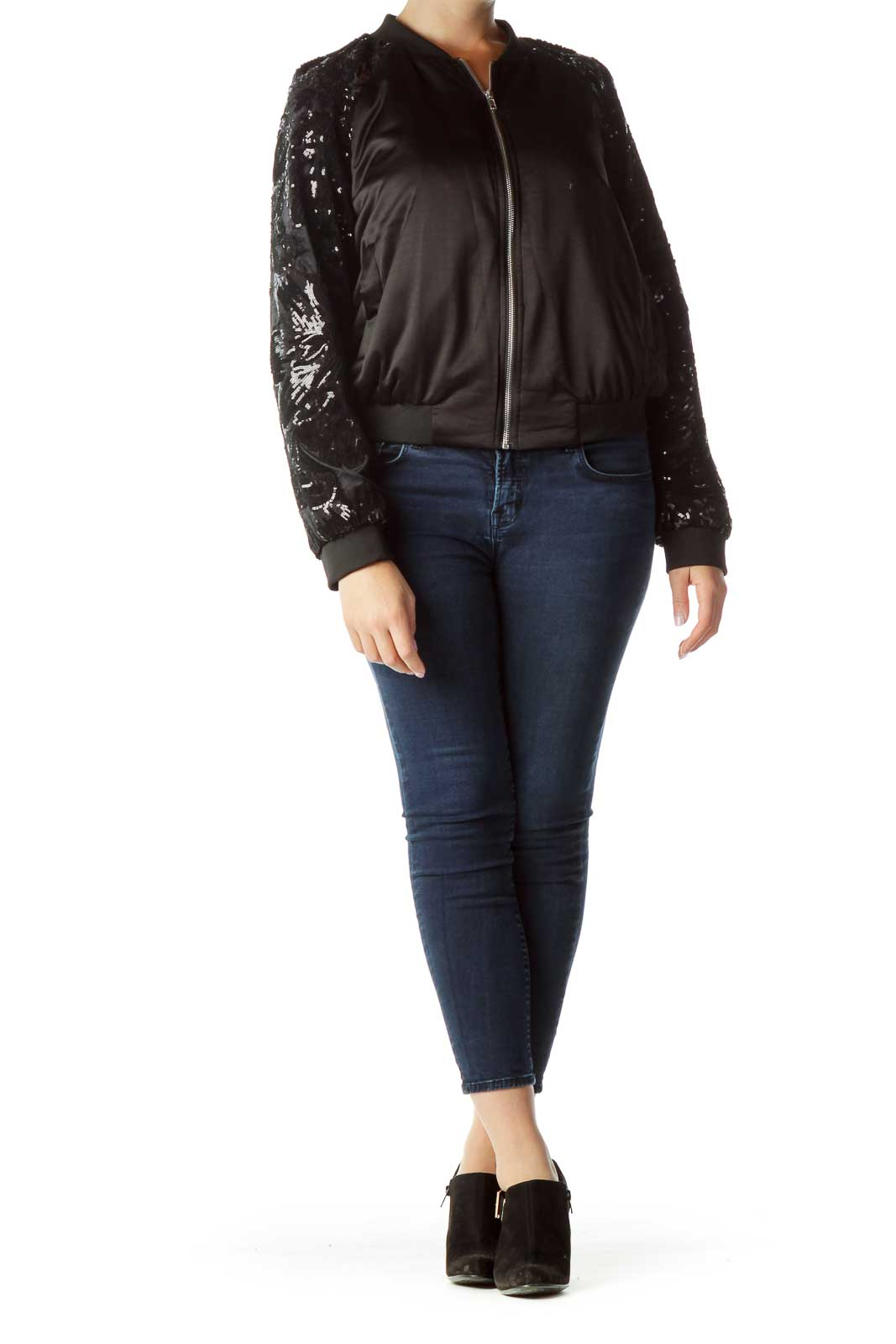 Black Sequined Bomber Jacket