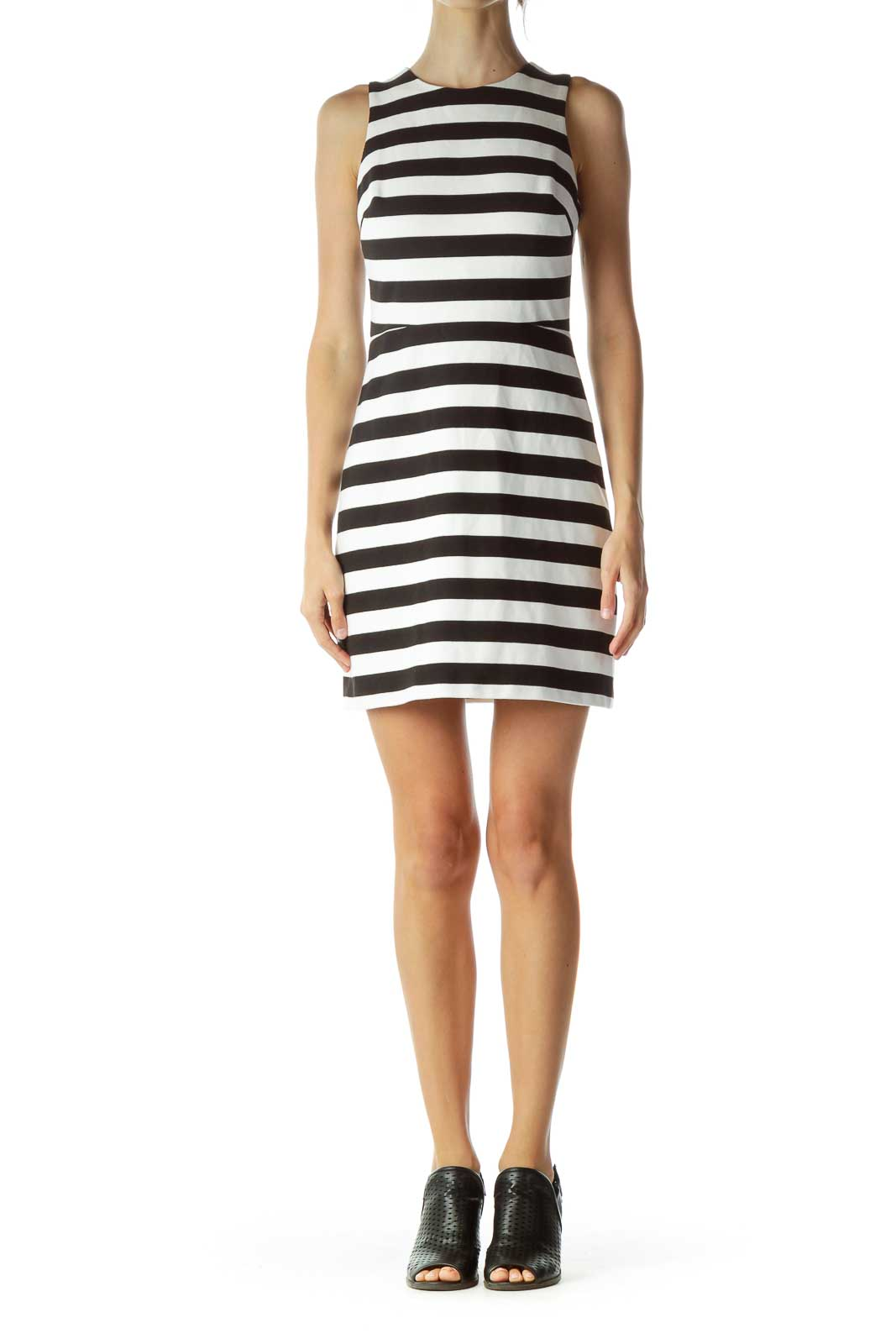 White Black Striped Cut-Out Cocktail Dress