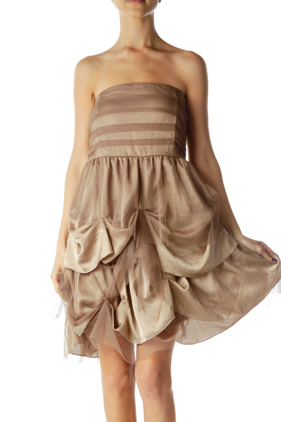 Brown Strapless Tool & Satin Dress