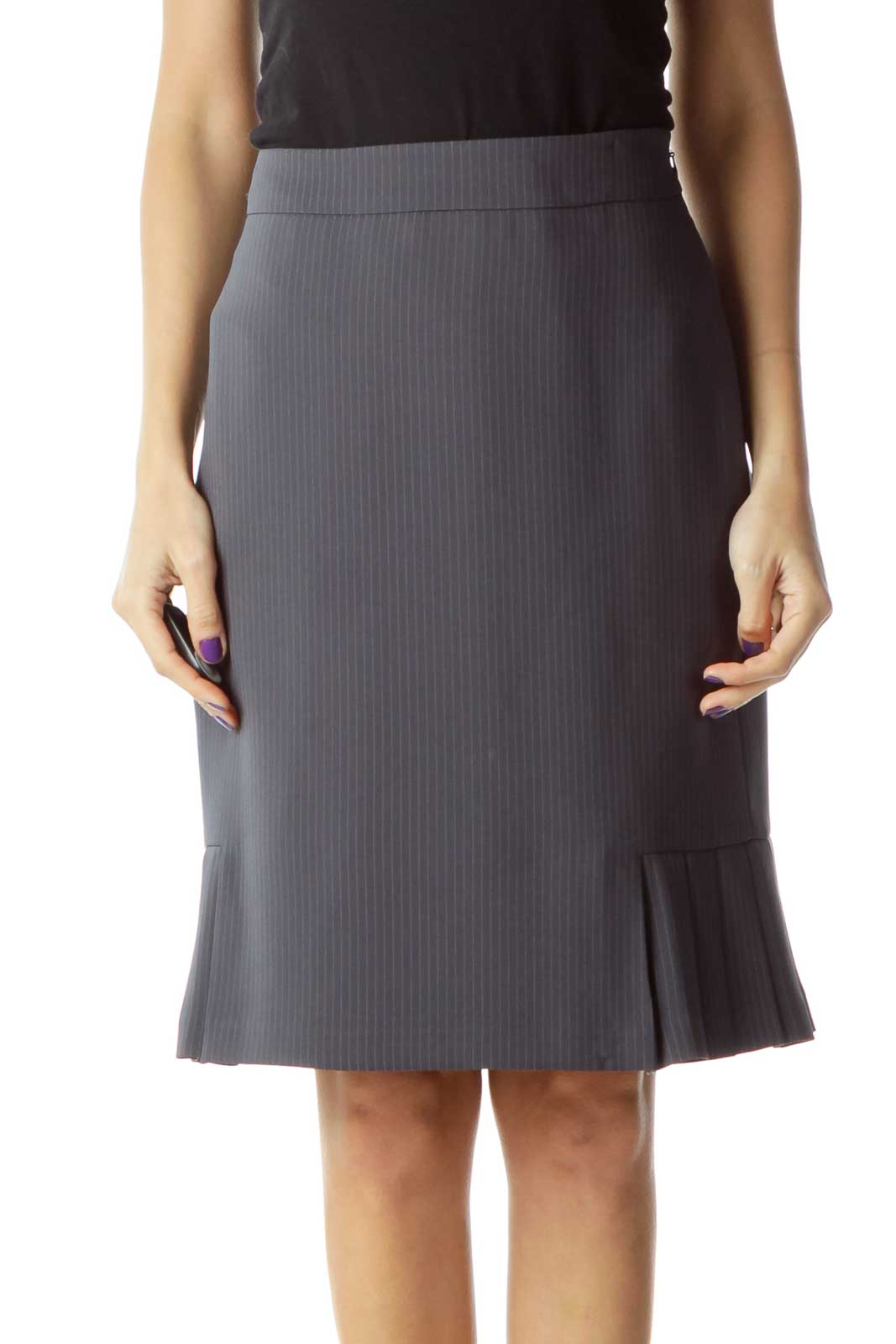 Gray Pinstripe Pleat Detail Skirt