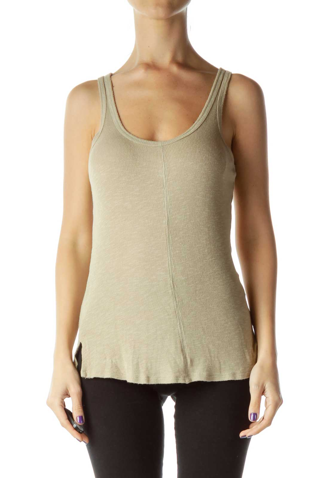 Beige Ribbed Tank Top