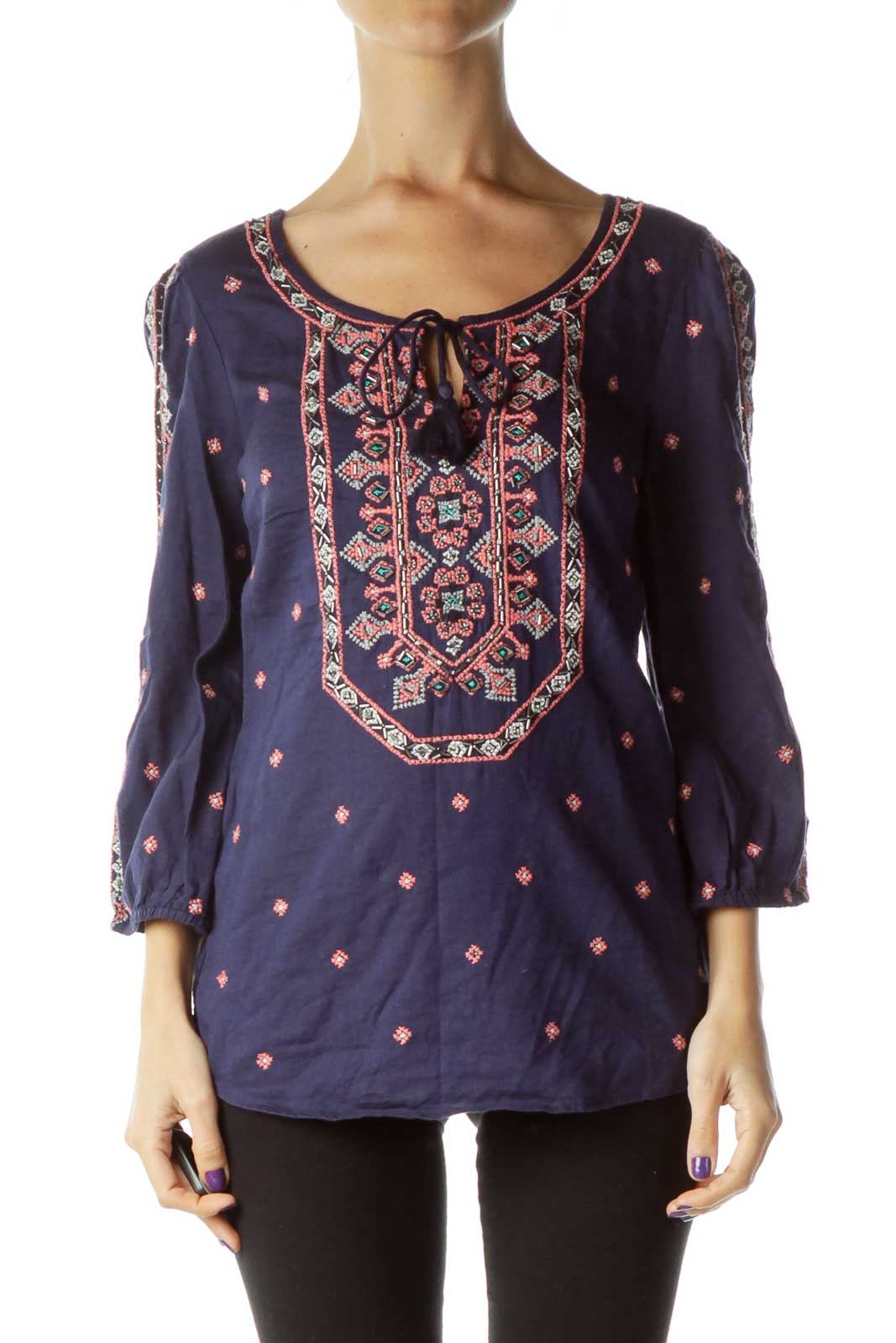 Navy Pink Beaded Embroidered Blouse
