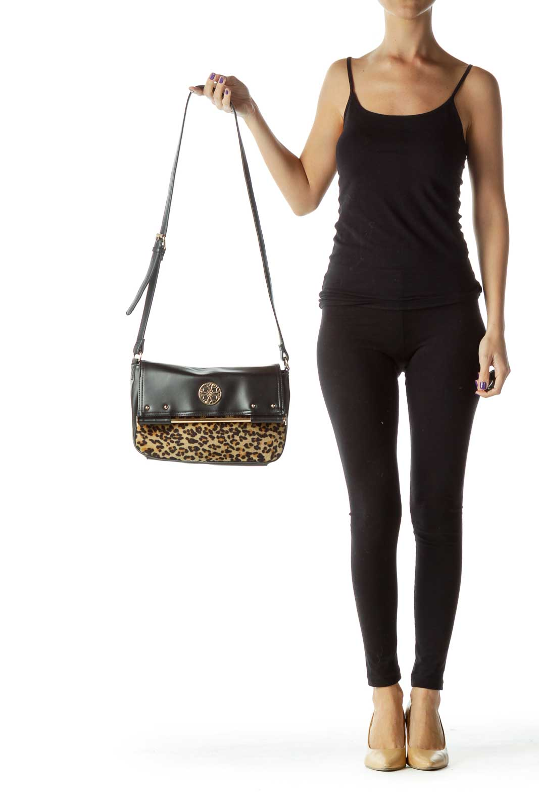 Black Faux-Leather Leopard Print Crossbody Bag