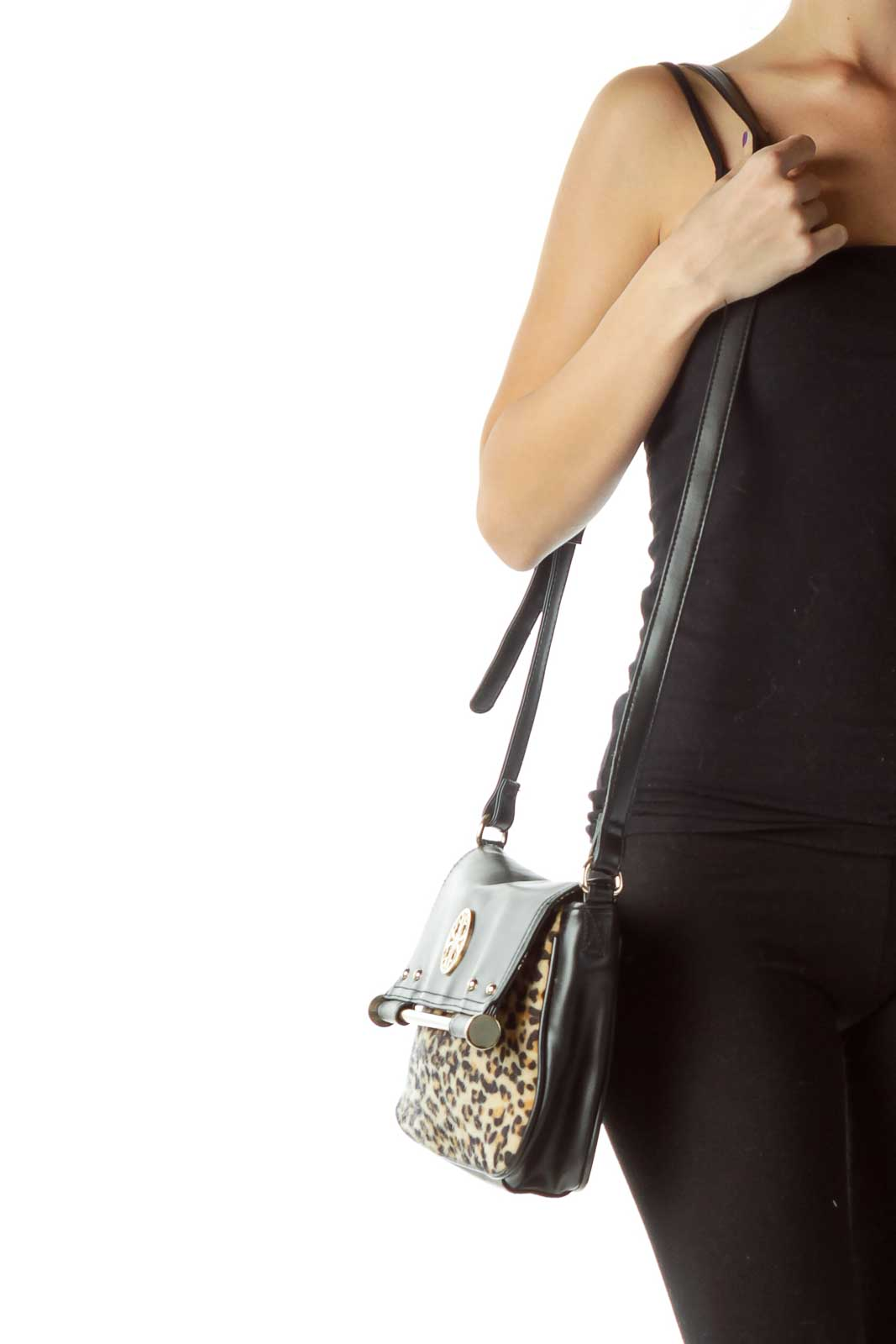 bf391758 Shop Black Faux-Leather Leopard Print Crossbody Bag clothing and ...