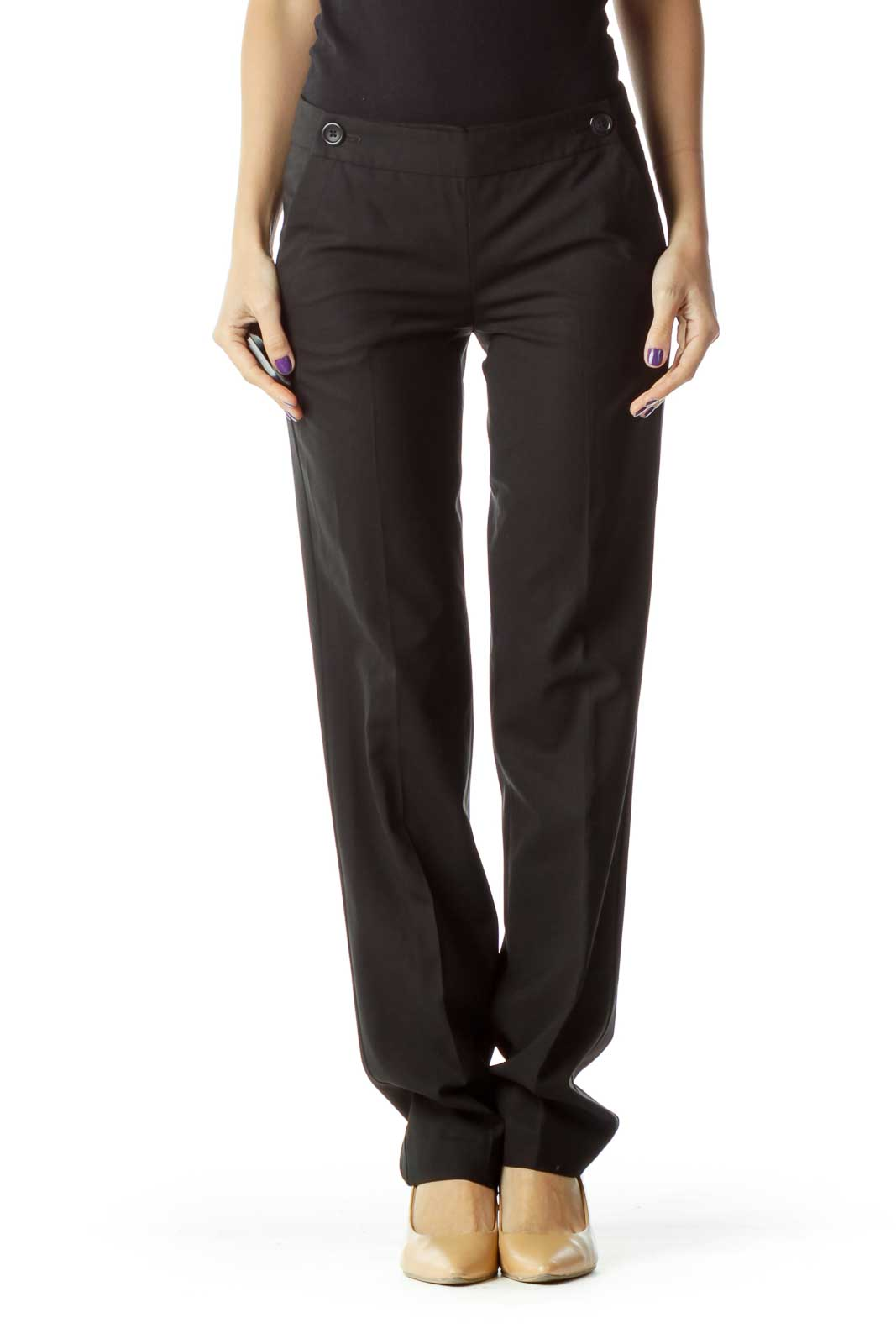 Black Slim Fit Straight Leg Pants
