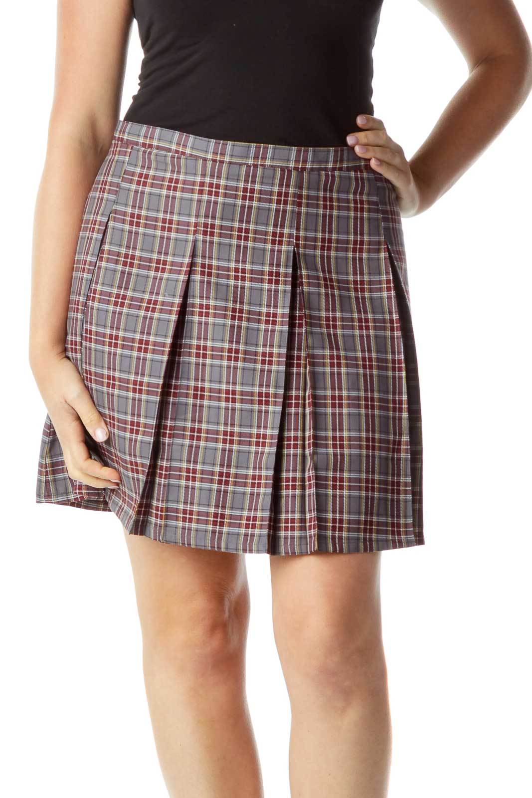 Burgundy Gray Plaid Pleated Skirt